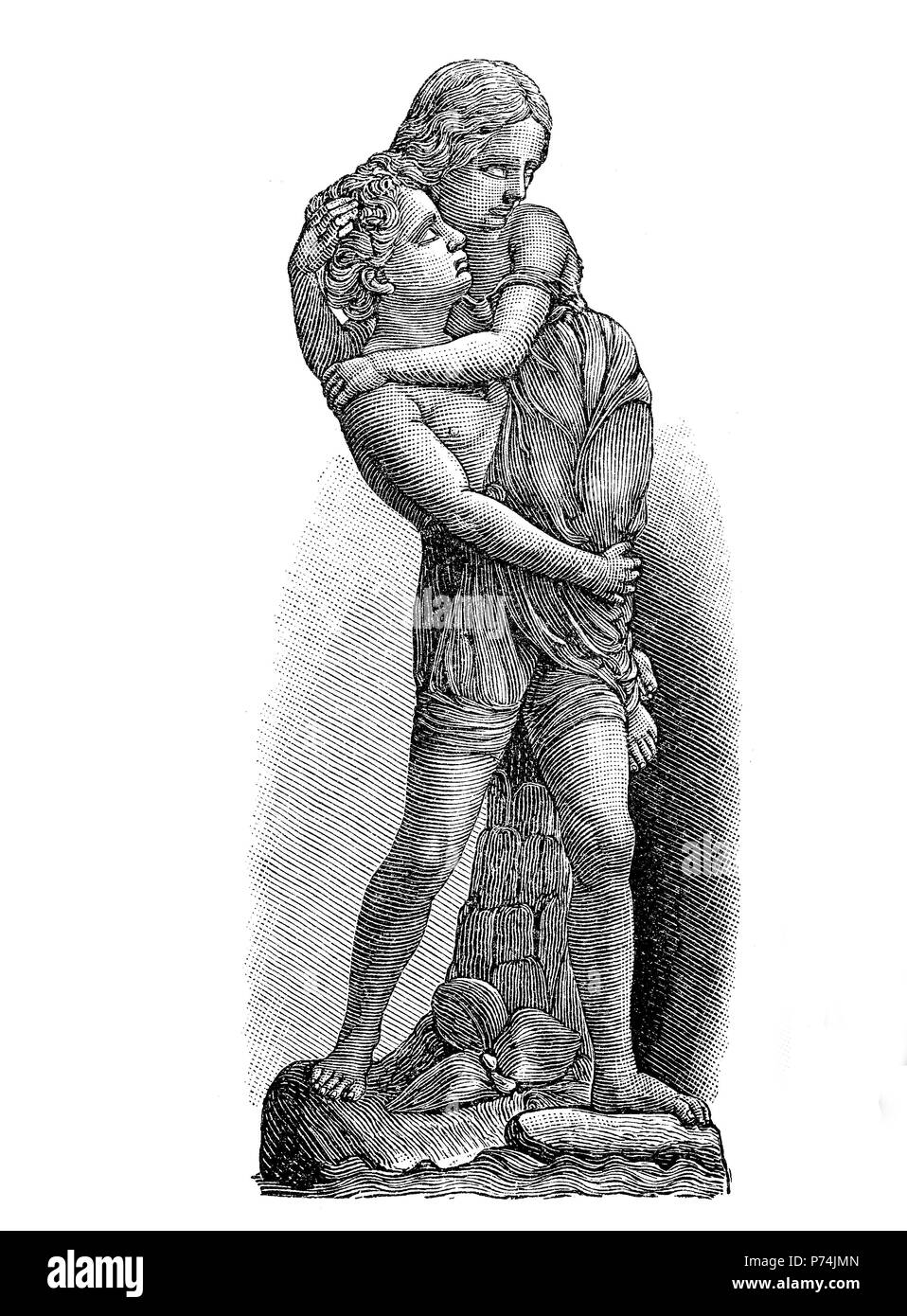 Paul and Viginia, by W.C. Marshall, digital improved reproduction from an original print from the year 1881 Stock Photo