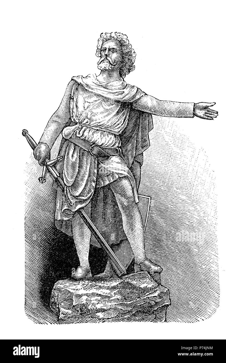 Sir William Wallace, died 23 August 1305, was a Scottish knight who became one of the main leaders during the Wars of Scottish Independence, digital improved reproduction from an original print from the year 1881 - Stock Image