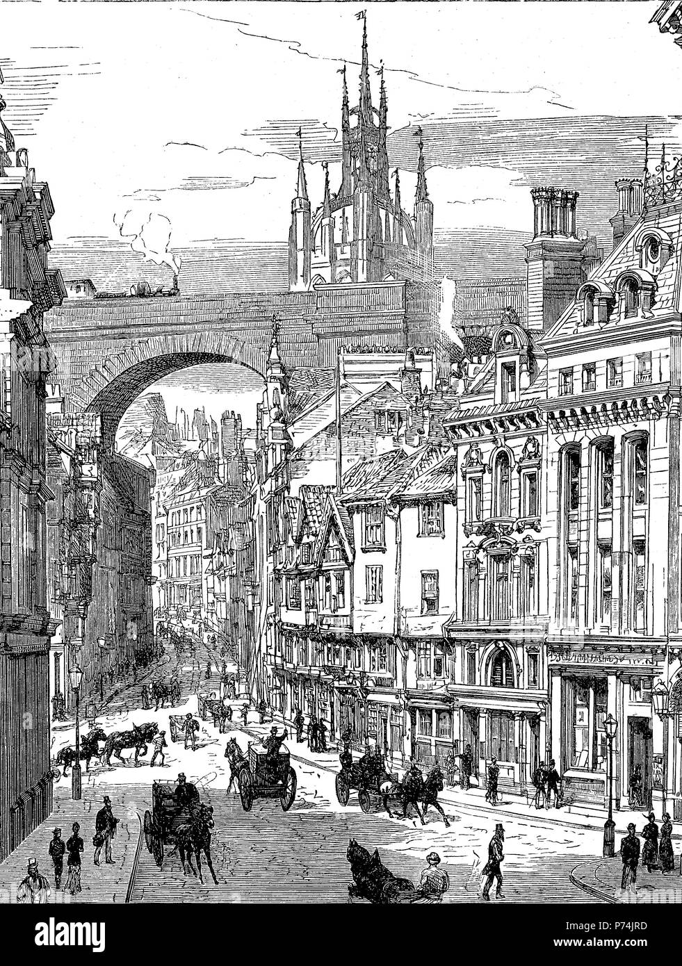 Dean Street at Newcastle, England, digital improved reproduction from an original print from the year 1881 - Stock Image