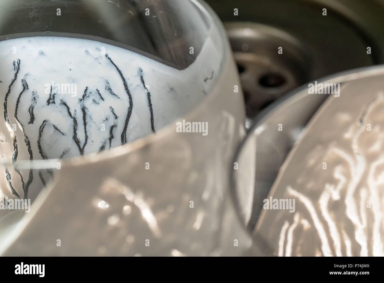 Closeup overhead view of empty fresh kefir probiotik drink in ...