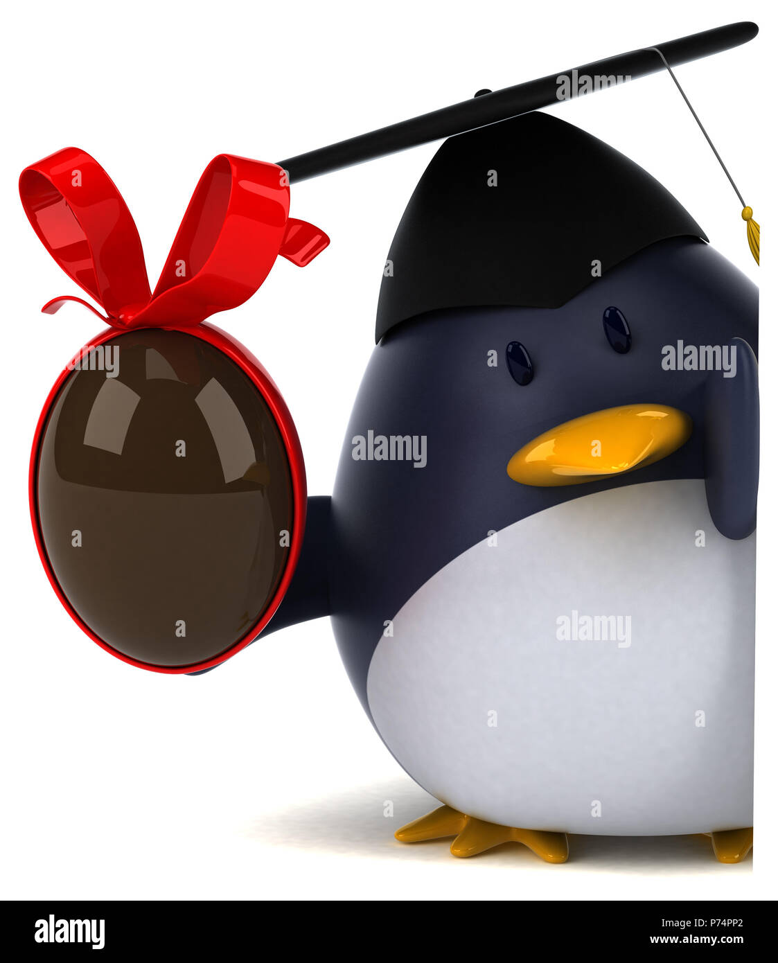 Fun penguin - 3D Illustration - Stock Image