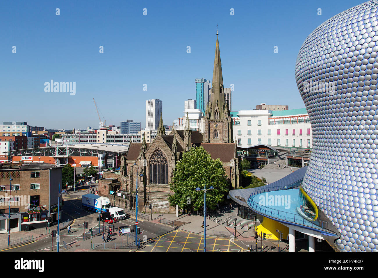 Birmingham, UK: June 29, 2018: The church of St Martin in the Bull Ring is located between the Bull Ring and the markets area. - Stock Image