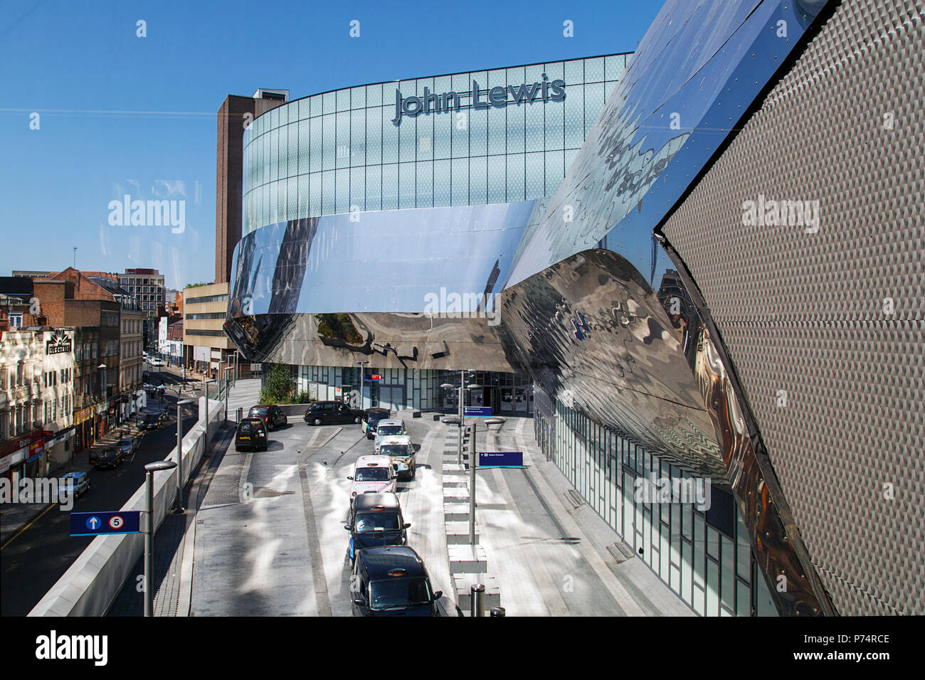 Birmingham, UK: June 29, 2018: Taxi rank at the John Lewis department store Birmingham. John Lewis sells high end merchandise and luxury foods. - Stock Image