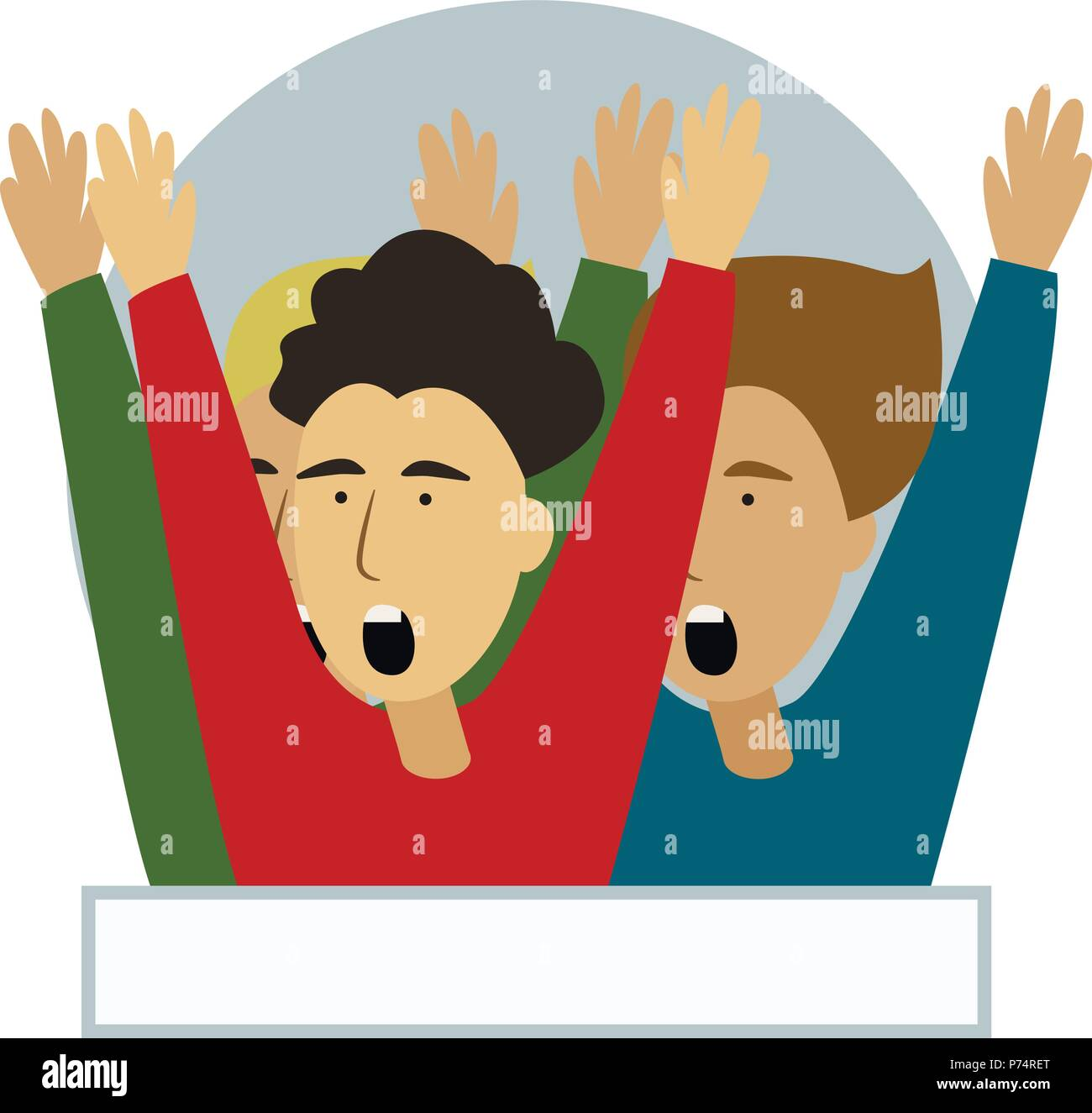 Cheering crowd of football fans isolated. Soccer fans at stadium, crowd of celebrating people. Clipart or sticker for goal post, web banner, infographics, hero images. Flat vector illustration. - Stock Image