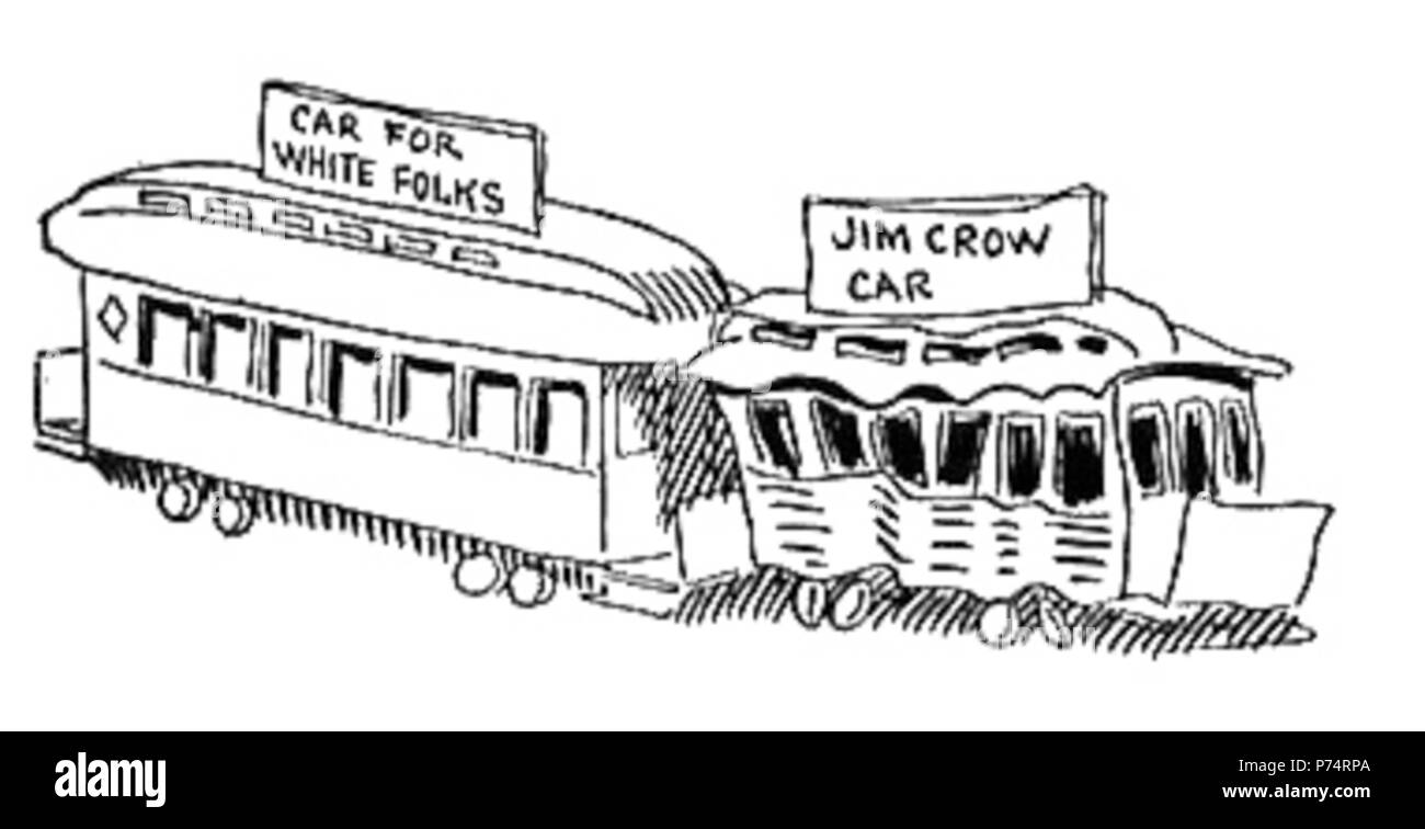 English: 'White' and 'Jim Crow' railcars; racial segregation in the United States as cartooned by John McCutcheon. 1904 6 JimCrowCar2 - Stock Image
