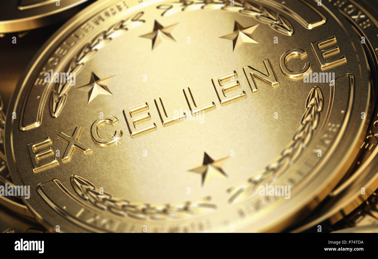 Close up of a golden medal with the word excellence written in relief. Concept of accomplishment. 3D illustration Stock Photo
