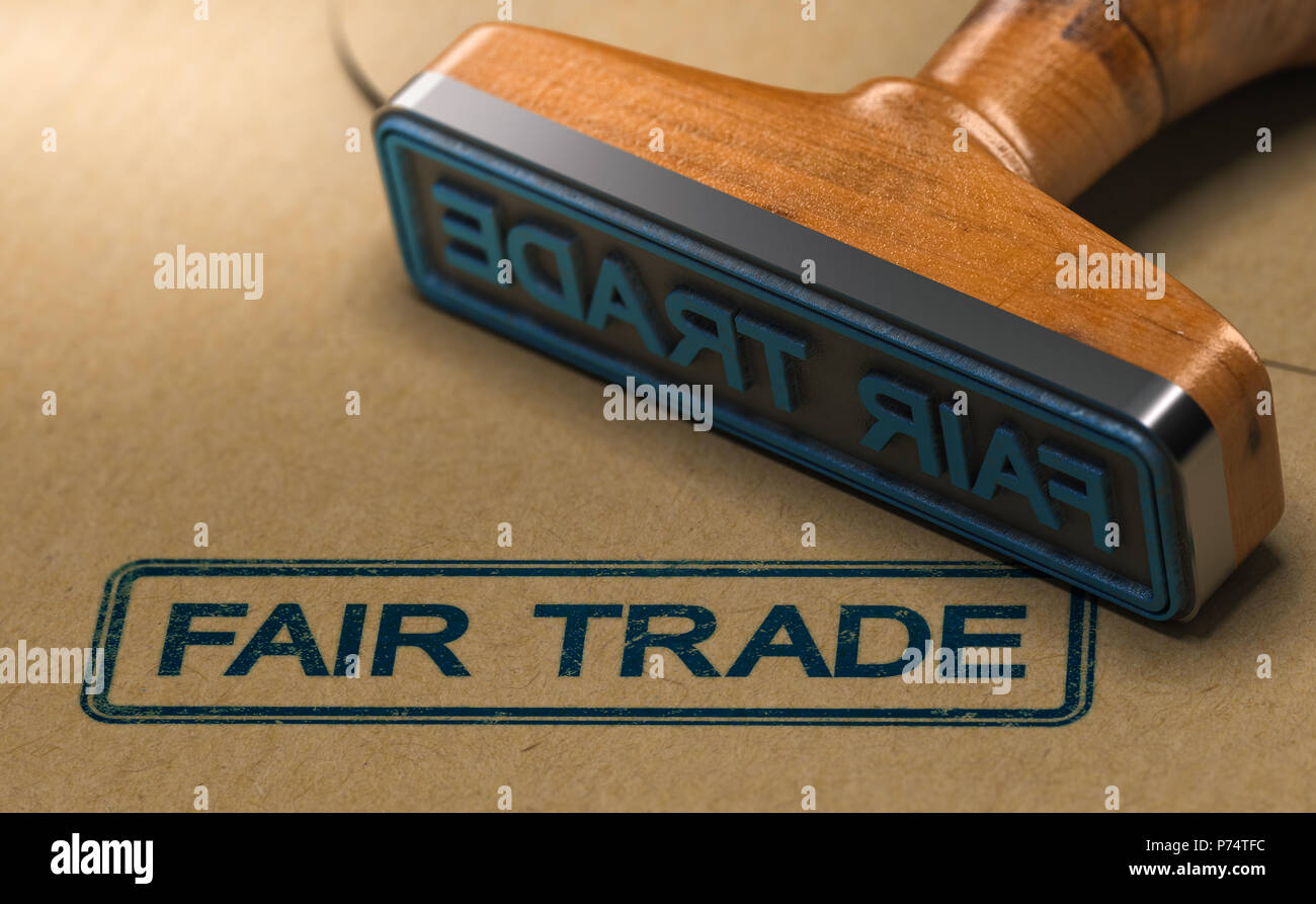 3D illustration of a rubber stamp with the word fair trade stamped on paper background. - Stock Image