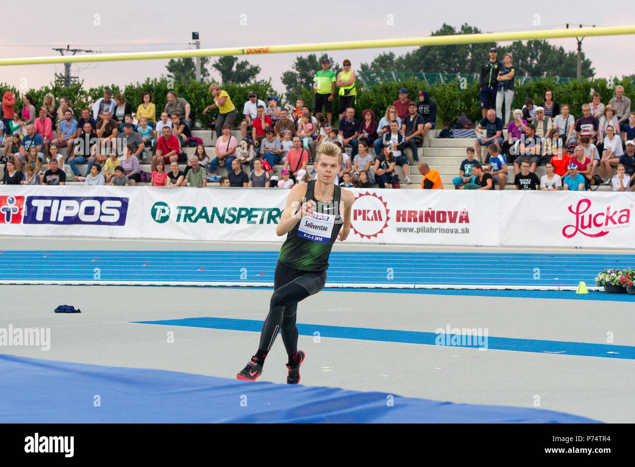 Belarusian high jumper Pavel Seliverstau competing at the P-T-S athletics meeting in the sports site of x-bionic sphere® in Samorín, Slovakia - Stock Image