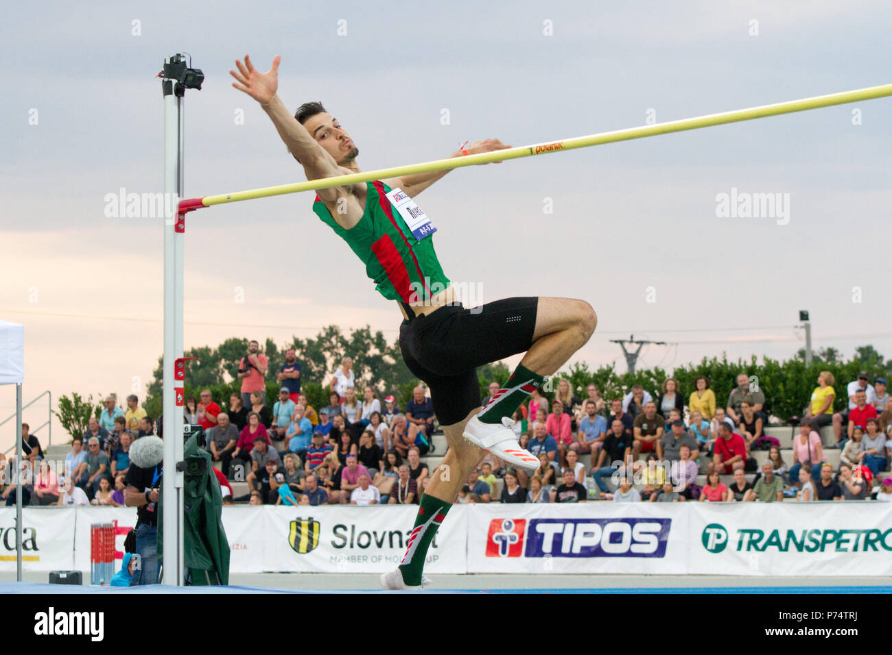Mexican high jumper Edgar Rivera competing at the P-T-S athletics meeting in the sports site of x-bionic sphere® in Samorín, Slovakia - Stock Image