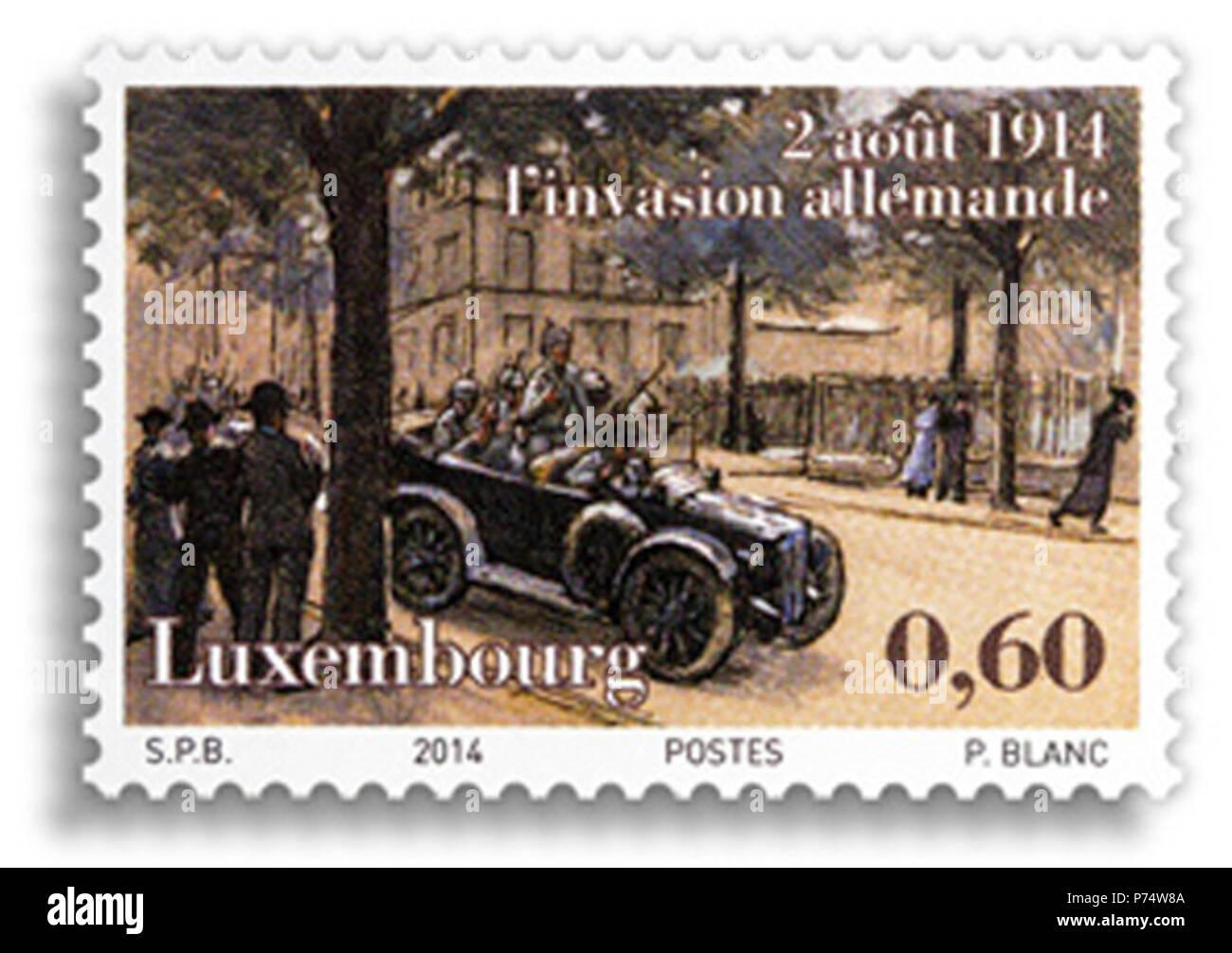 39 Pierre Blanc, timbre 100 ans de la Première Guerre Mondiale - Stock Image