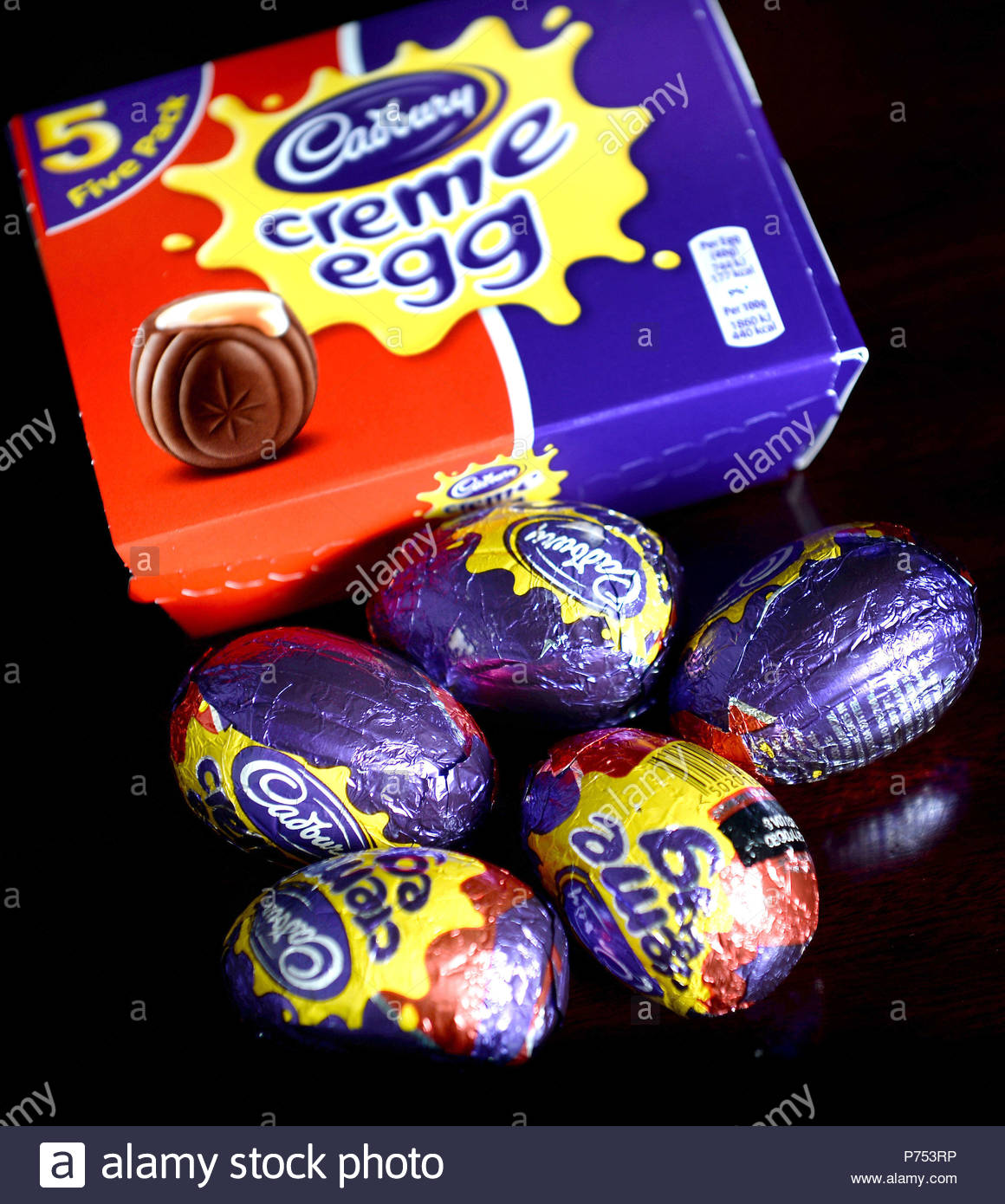 File photo dated 12/01/2015 of a five pack of Cadbury's Creme Eggs, as adverts for Cadbury eggs and Chewits and Squashies sweets have been banned for breaking new rules prohibiting the advertising of junk food to children. - Stock Image