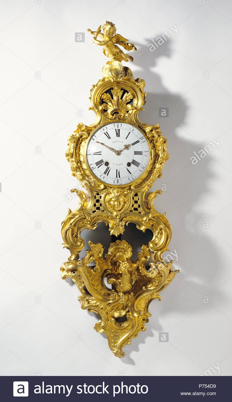 Clock on Bracket (Cartel sur une console); Clock movement by Jean Romilly, French, 1714 - 1796, master 1752, Case attributed to Charles Cressent, French, 1685 - 1768, master 1719, Bracket by Jean-Joseph de Saint-Germain, French, 1719 - 1791, master 1748; Paris, France, Europe; about 1758; Gilt bronze, enameled metal; glass; Object: 127.7 x 47 x 20.3 cm (50 1/4 x 18 1/2 x 8 in.). - Stock Image
