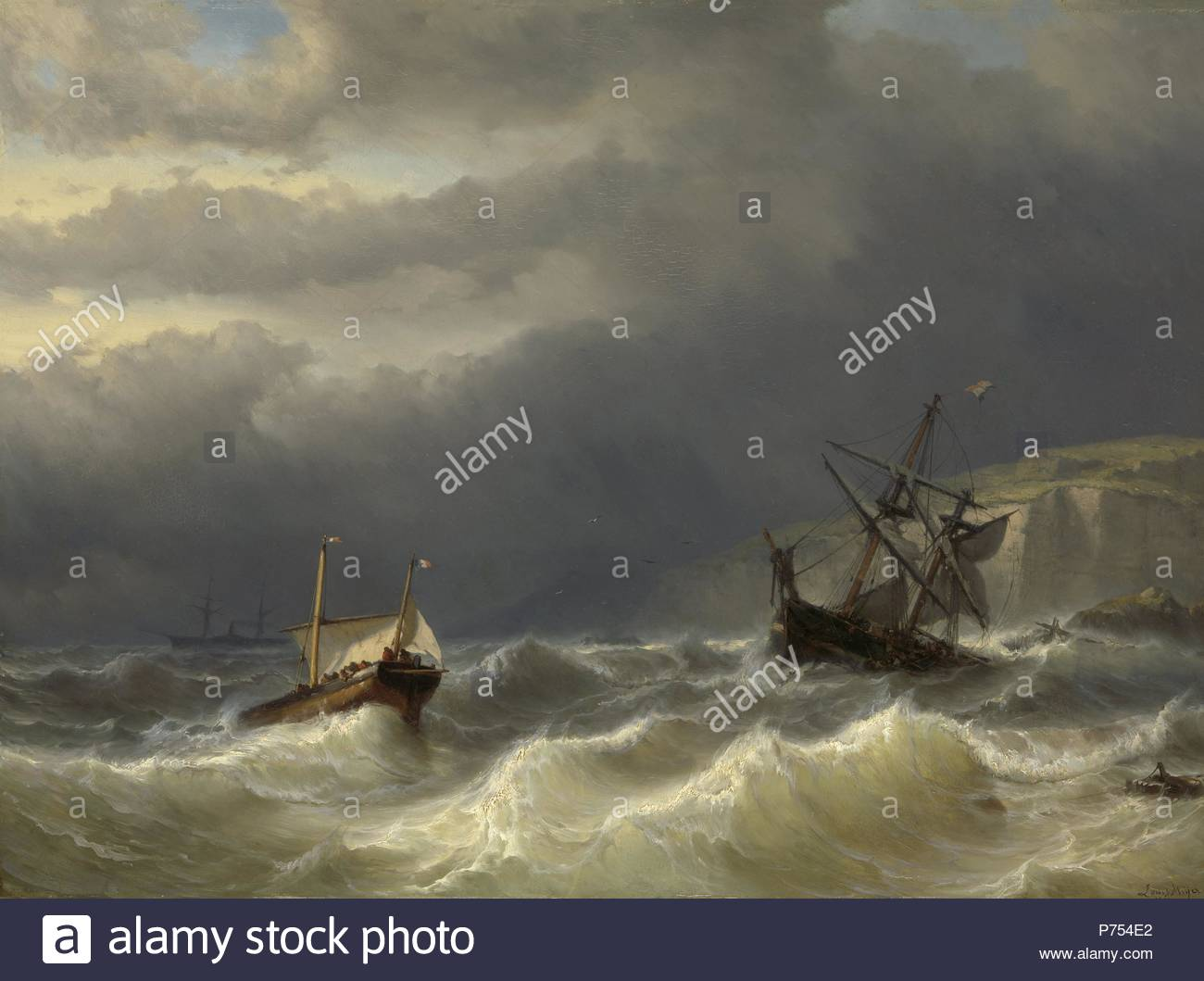 Storm in the Strait of Dover, Louis Meijer, 1819 - 1866. - Stock Image