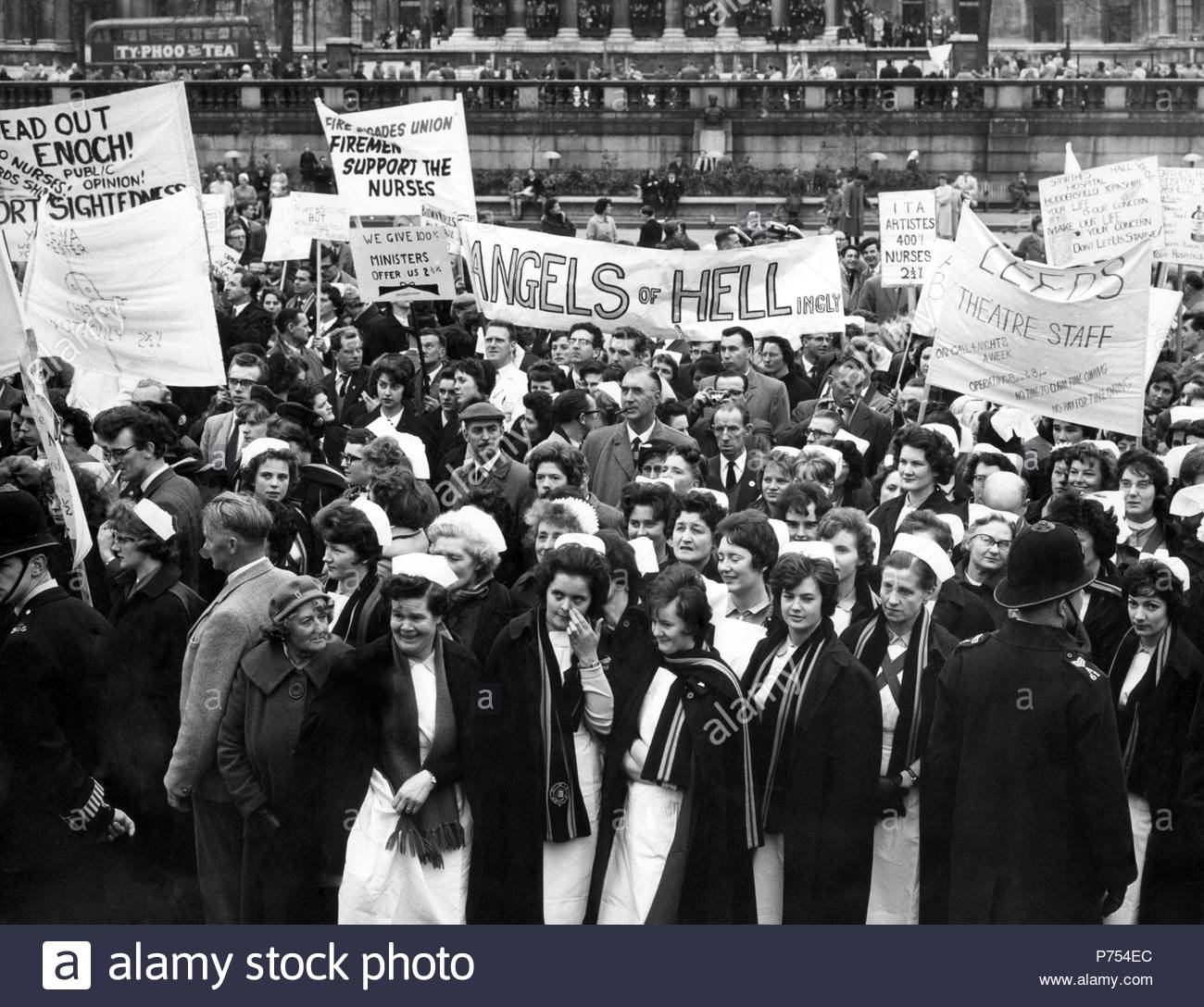 File photo dated 28/04/62 of National Health Service (NHS) nurses during a protest over pay rates in Trafalgar Square, London. - Stock Image