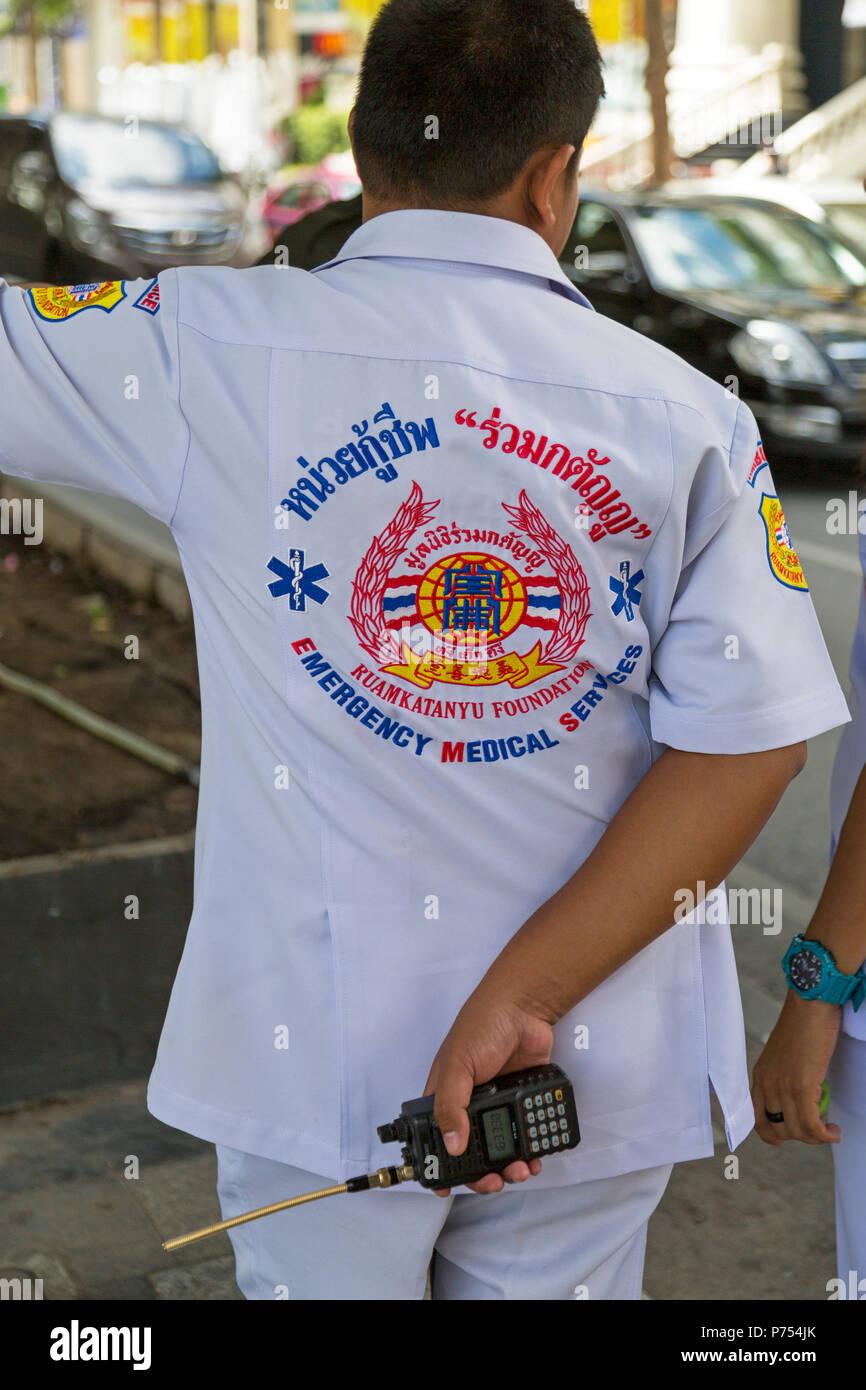 Emergency medical staff on duty in Bangkok street, Thailand - Stock Image