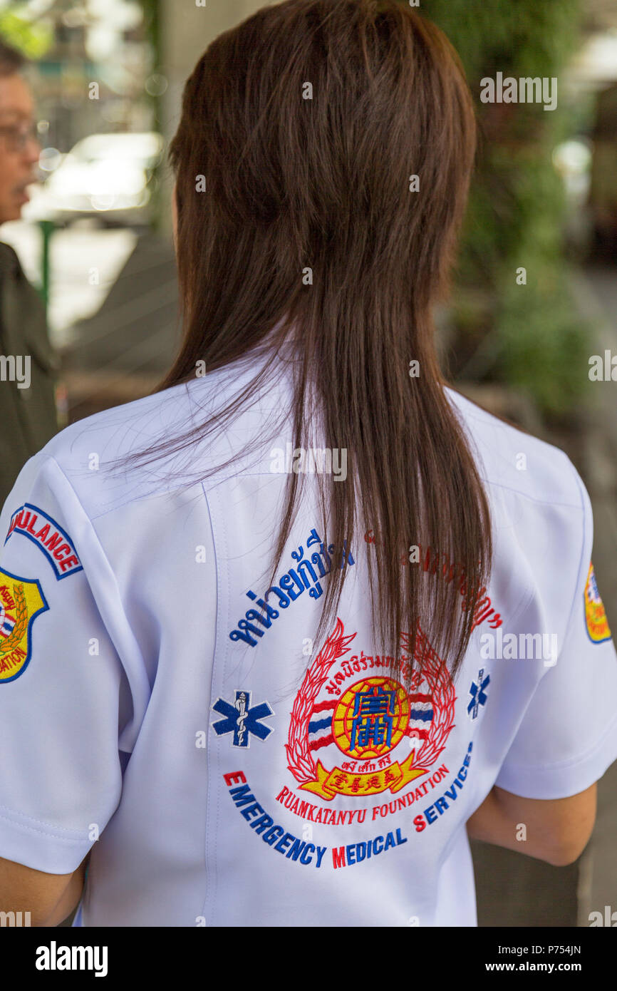 Emergency medical staff on duty in Bangkok street, Thailand - Stock Image