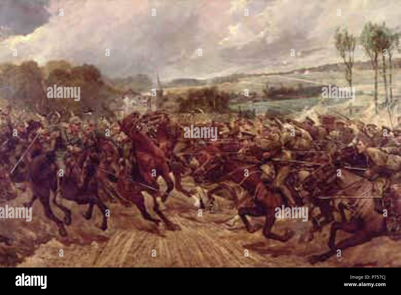 English: Depicts the charge of a squadron of the 9th Lancers against the Prussian Dragoons of the Guard at Moncel on the 7th September 1914. This was Cavalry action in the First World War when cavalry charged with both sides at full gallop. The 9th Lancers casualties were 3 killed and 7 wounded compared to heavy losses suffered by the Prussian Dragoons. before 1927 when the artist died 25 Charge of the 9th Lancers by Richard Caton Woodville - Stock Image