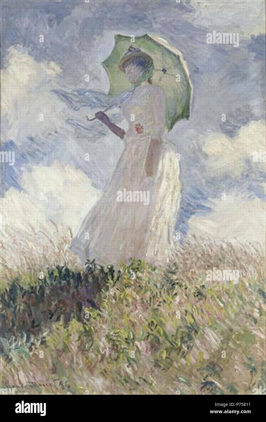 Study of a Figure Outdoors: Woman with a Parasol Turned to ...