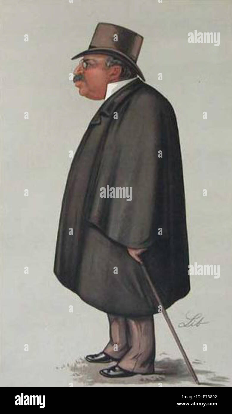 English: Chromolithographic cartoon of John Corlett, founder and editor of 'The Sporting Times' of London . First published 14 September 1889 29 John Corlett by Lib in Vanity Fair, 1889 - Stock Image