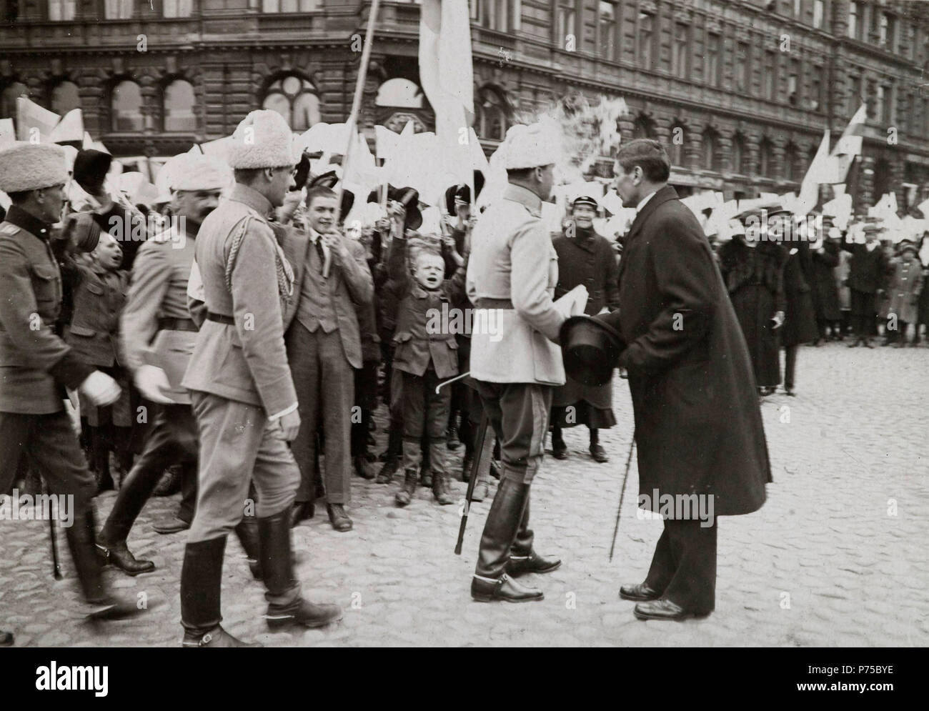 Picture of ceremonial parade. 1919 Carl Gusaf Mannerheim - Stock Image