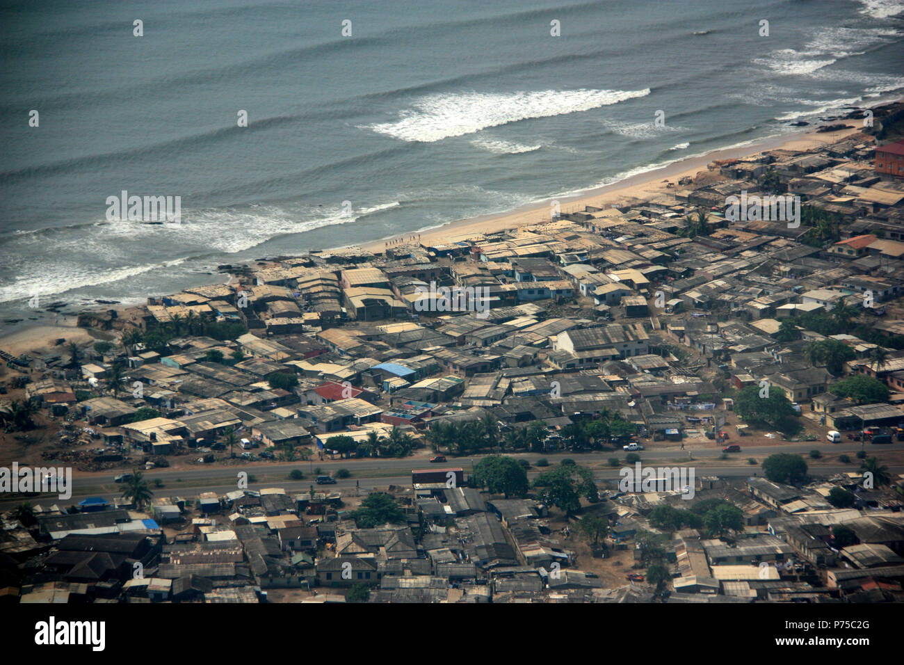 Aerial View of the waterfront of Accra, Ghana - Stock Image