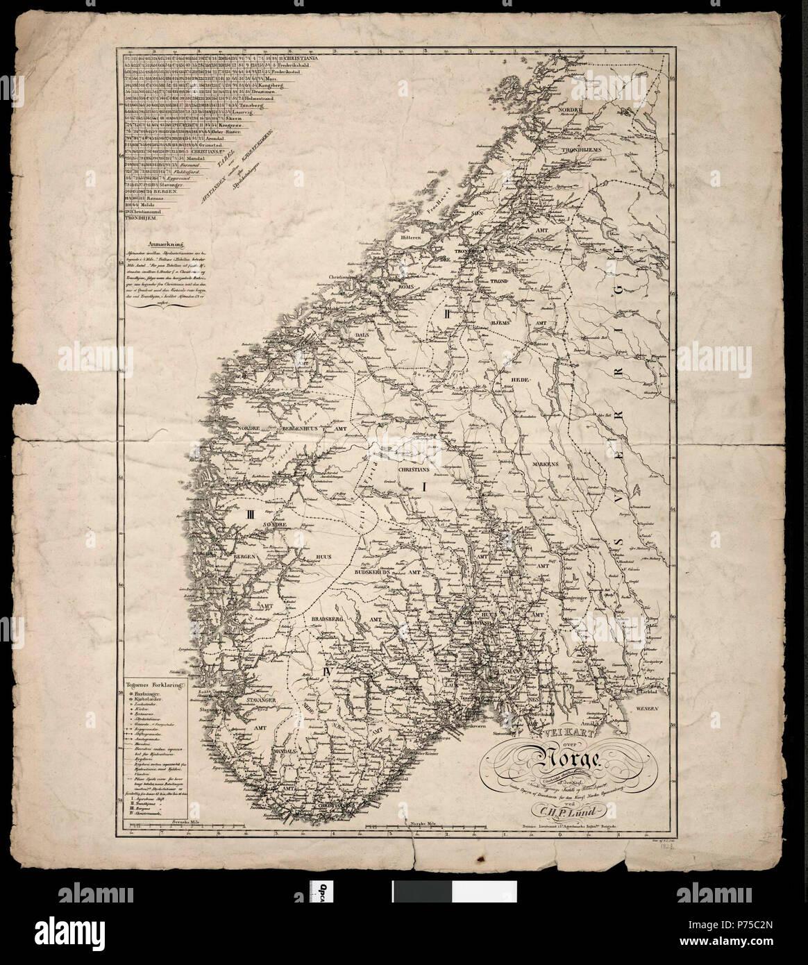 veikart kart norge Veikart over Norge   Cartographer H.C.P. Lund ca 1824 1847 Stock  veikart kart norge