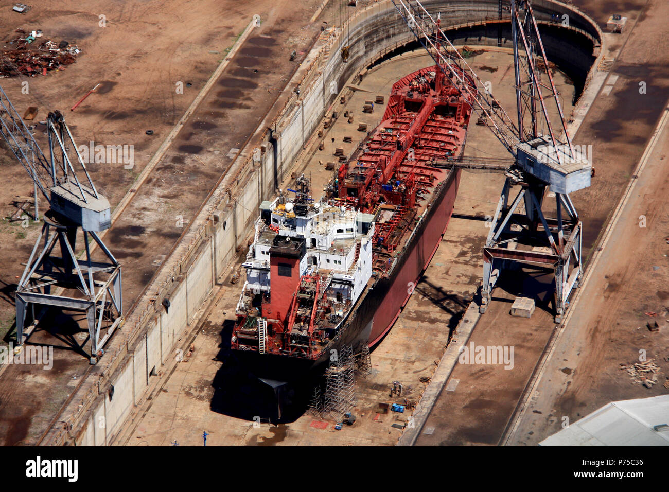 Aerial view of a ship in a dry dock in Ghana Stock Photo