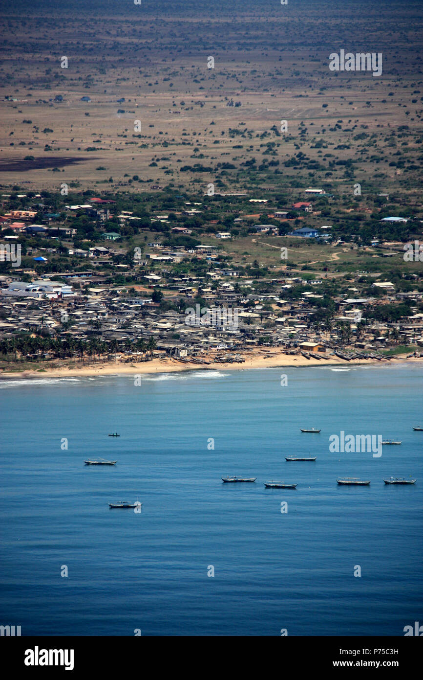 Fishing Boats anchored off the Shore of Ghana - Stock Image