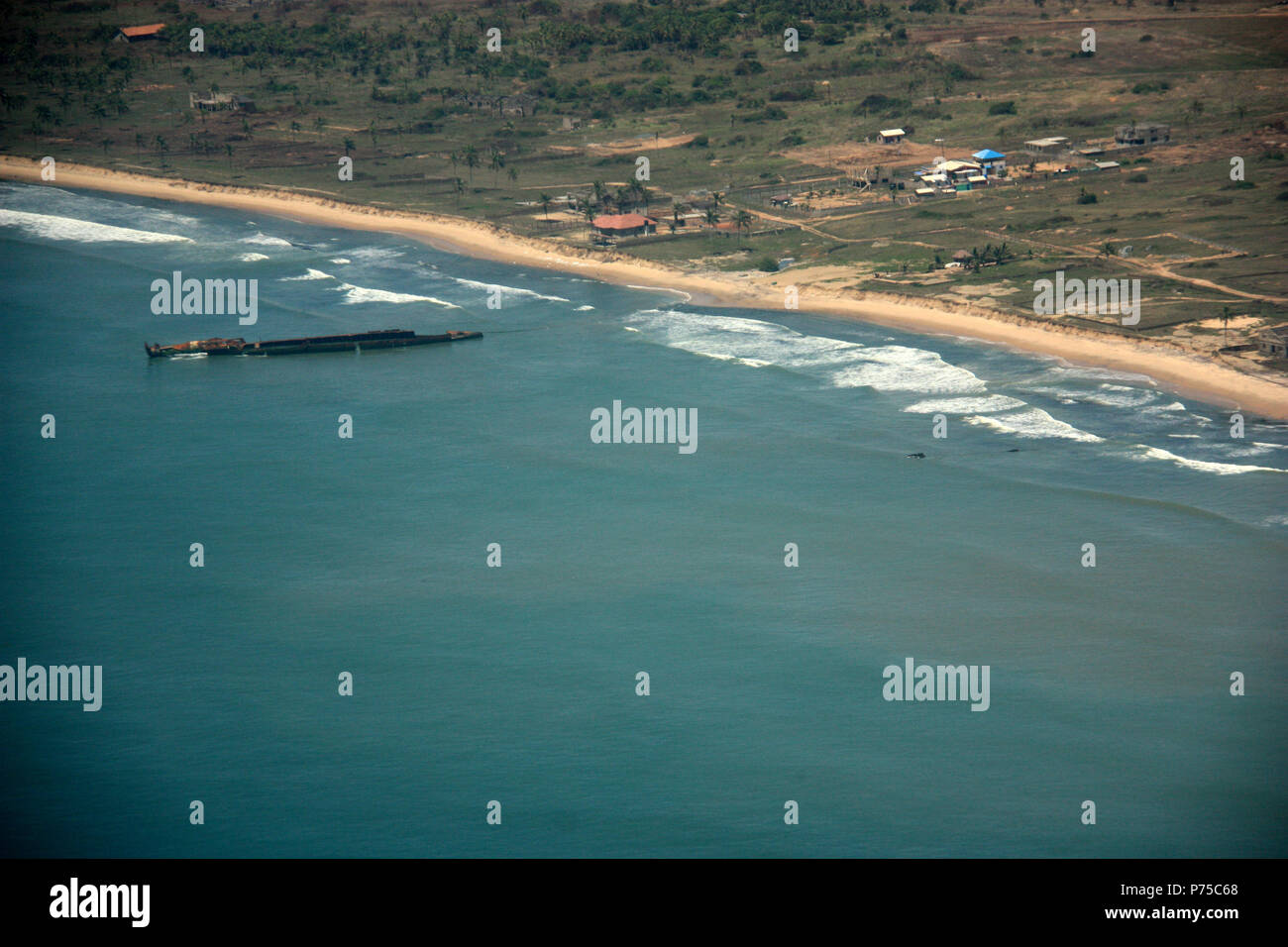 Aerial View of a disassembled Ship Wreckage off the Coast of Ghana - Stock Image