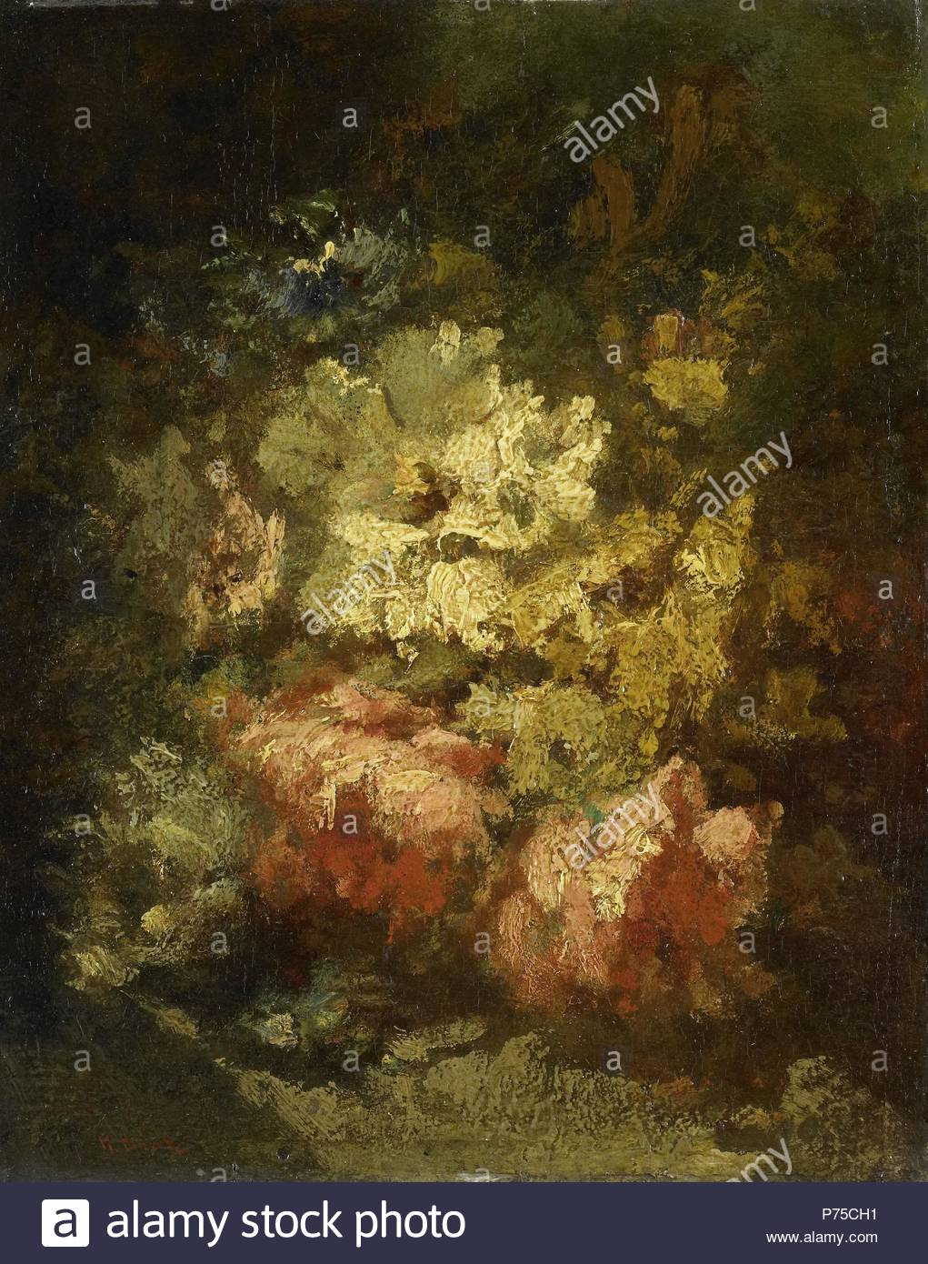 Still life with white and red roses, Narcisse Virgile Diaz de la Peña, 1860 - 1876, French painter of the Barbizon school. - Stock Image