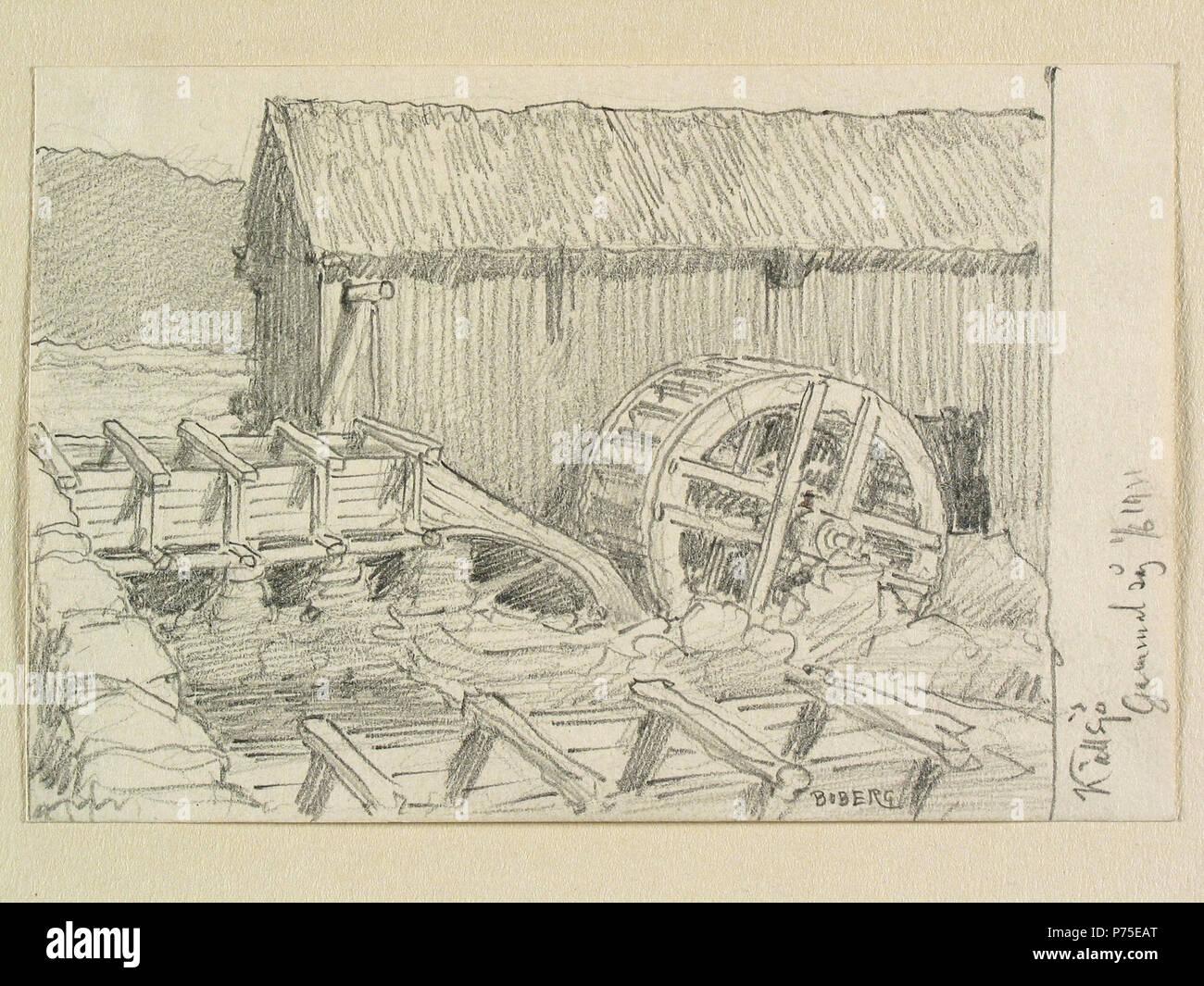19 Halland, Faurås hd., Källsjö. Gammal såg. Teckning av Ferdinand Boberg - Nordiska museet - NMA.0088200 - Stock Image