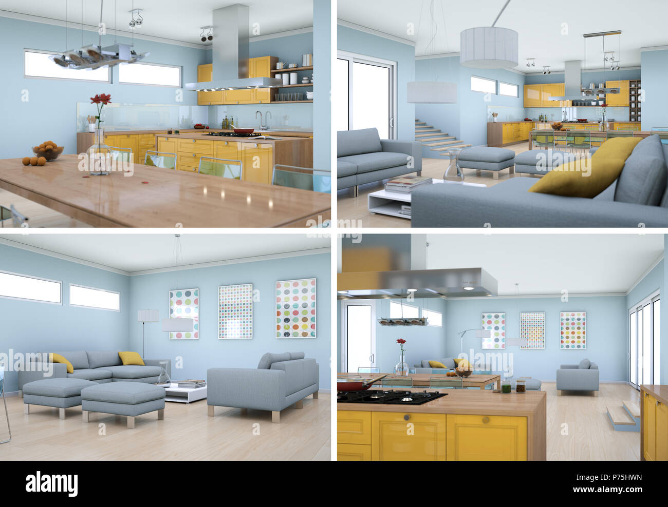Four views of modern interior loft design stock photo