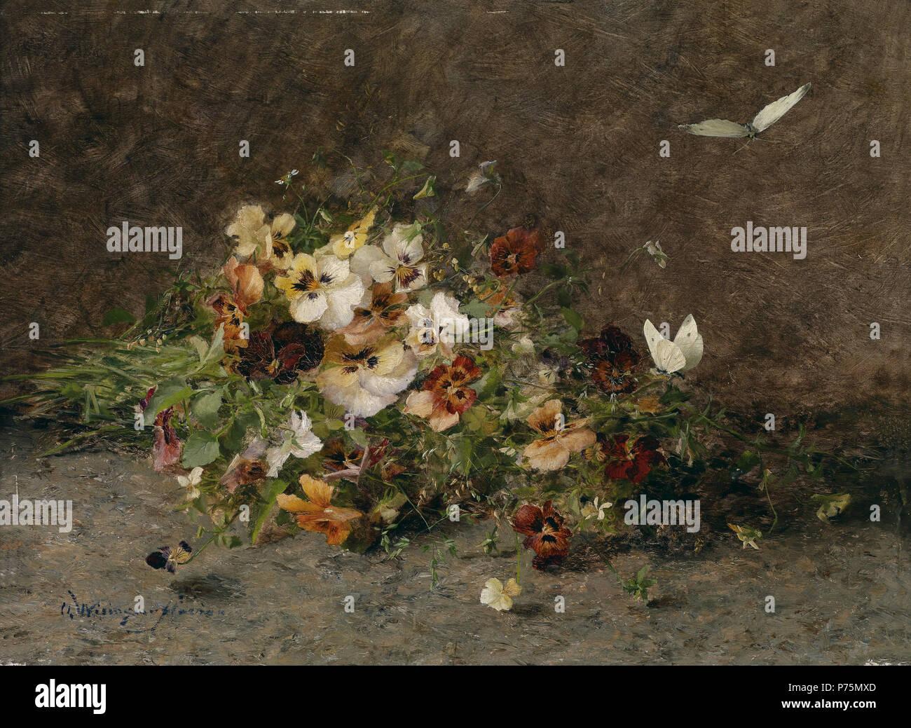 173 Olga Wisinger-Florian Stiefmütterchen und Schmetterlinge - Stock Image
