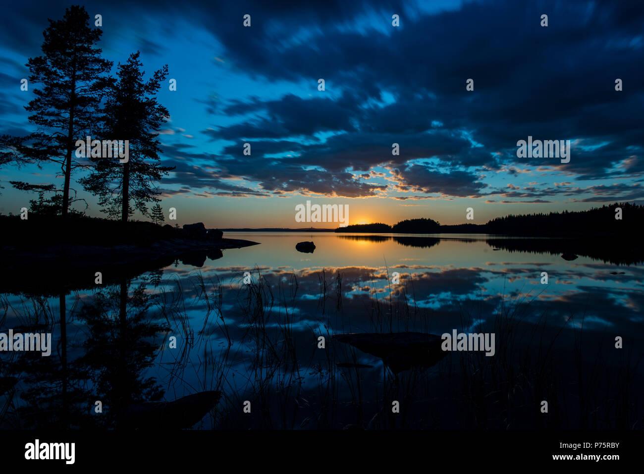 Beautiful sunset over the lake Yngen  - Stock Image