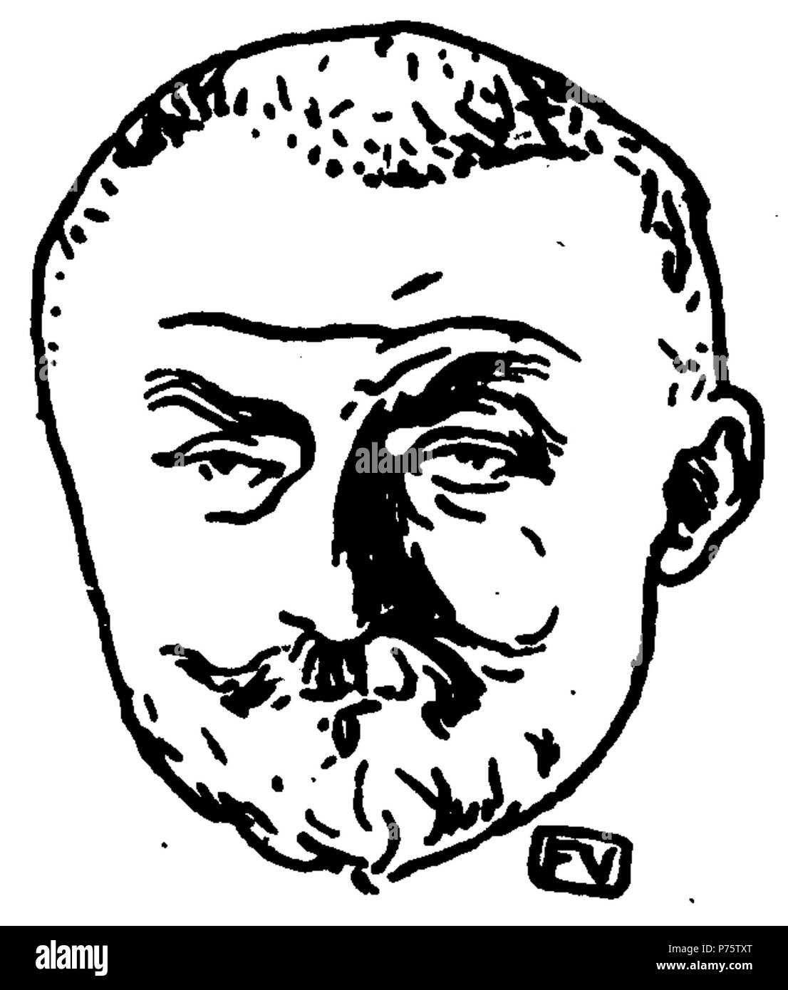 Portrait of French writer Joris-Karl Huysmans (1848-1907) from Le Livre des masques (vol. II, 1898) by Remy de Gourmont (1858-1916) . circa 1898 145 J.-K. Huysmans by Vallotton Stock Photo