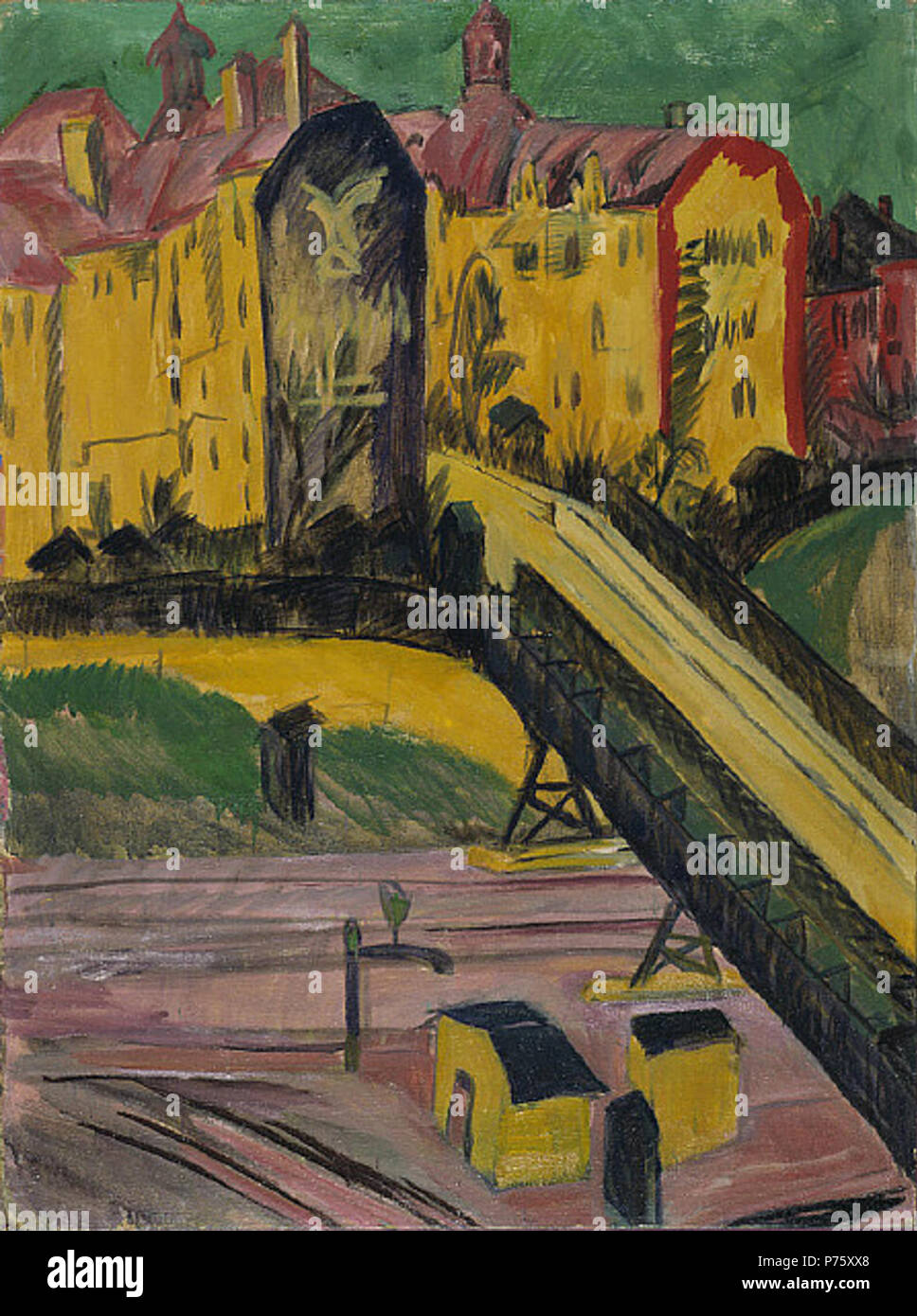 .  English: View from the Window Deutsch: Blick aus dem Fenster  1914 10 Ernst Ludwig Kirchner - View from the Window Stock Photo