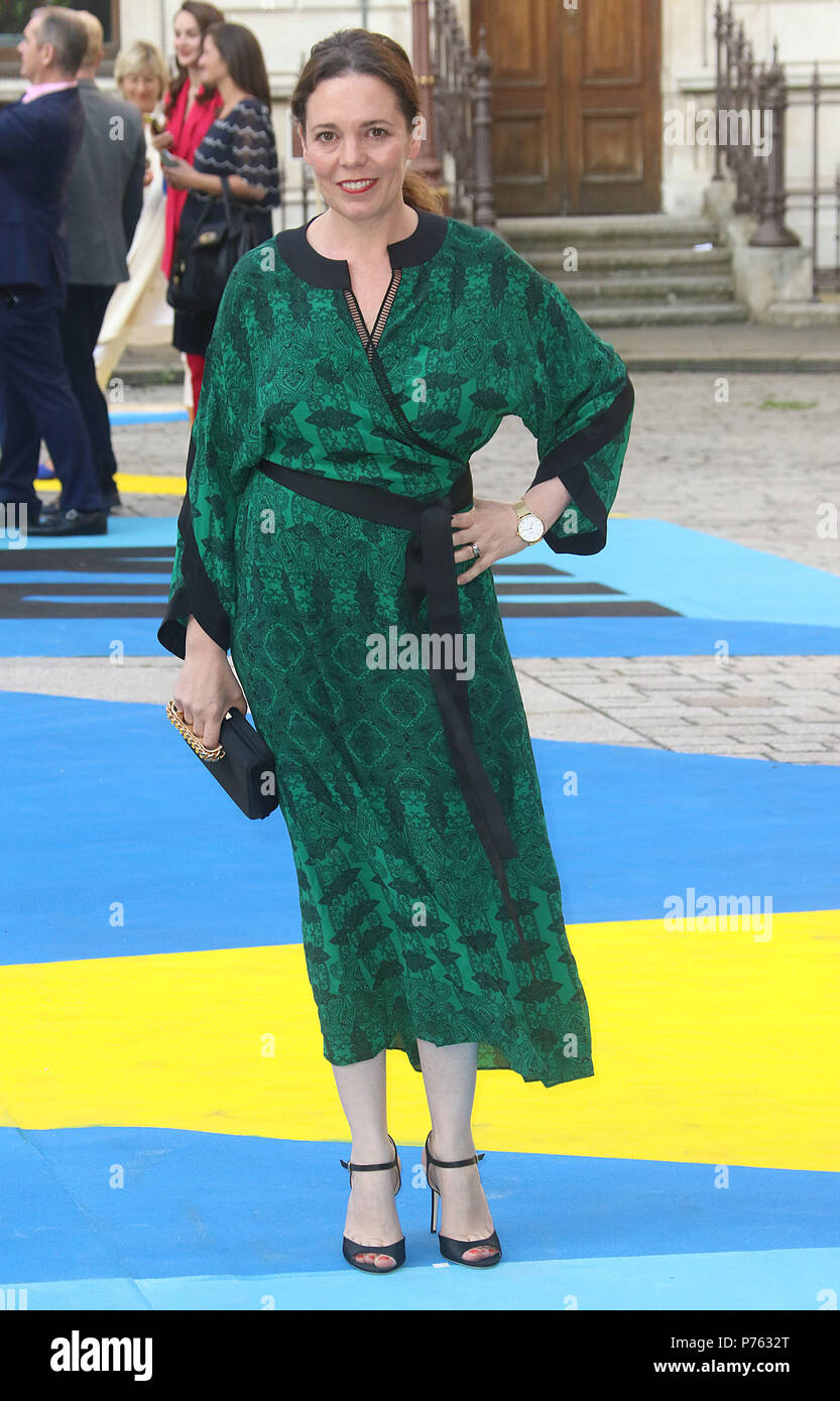 Jun 06, 2018 - Olivia Colman attending Royal Academy Of Arts 250th Summer Exhibition Preview Party at Burlington House in London, England, UK - Stock Image
