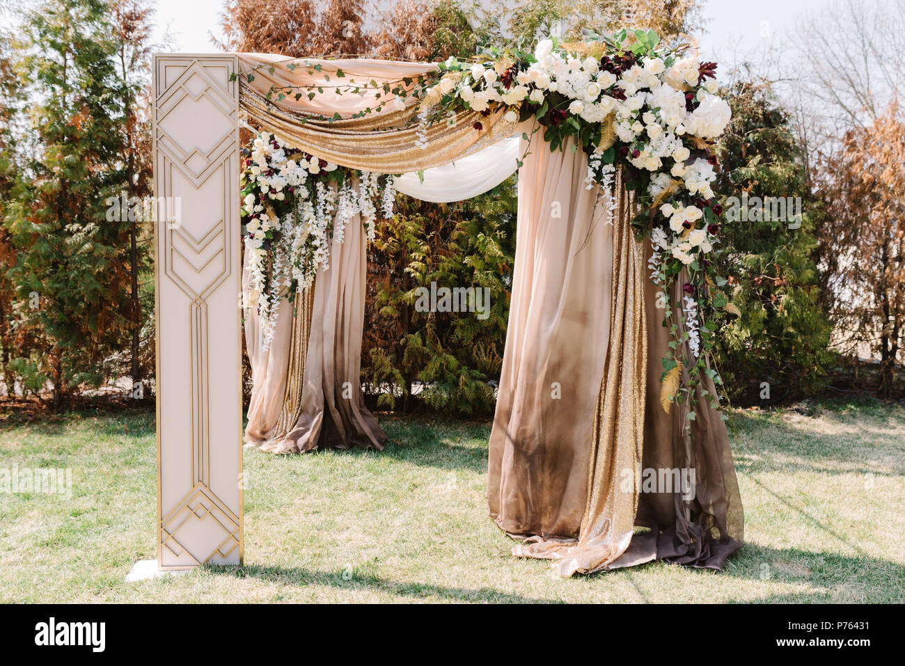 Magnificent wedding arch for a wedding ceremony. The square arch ...