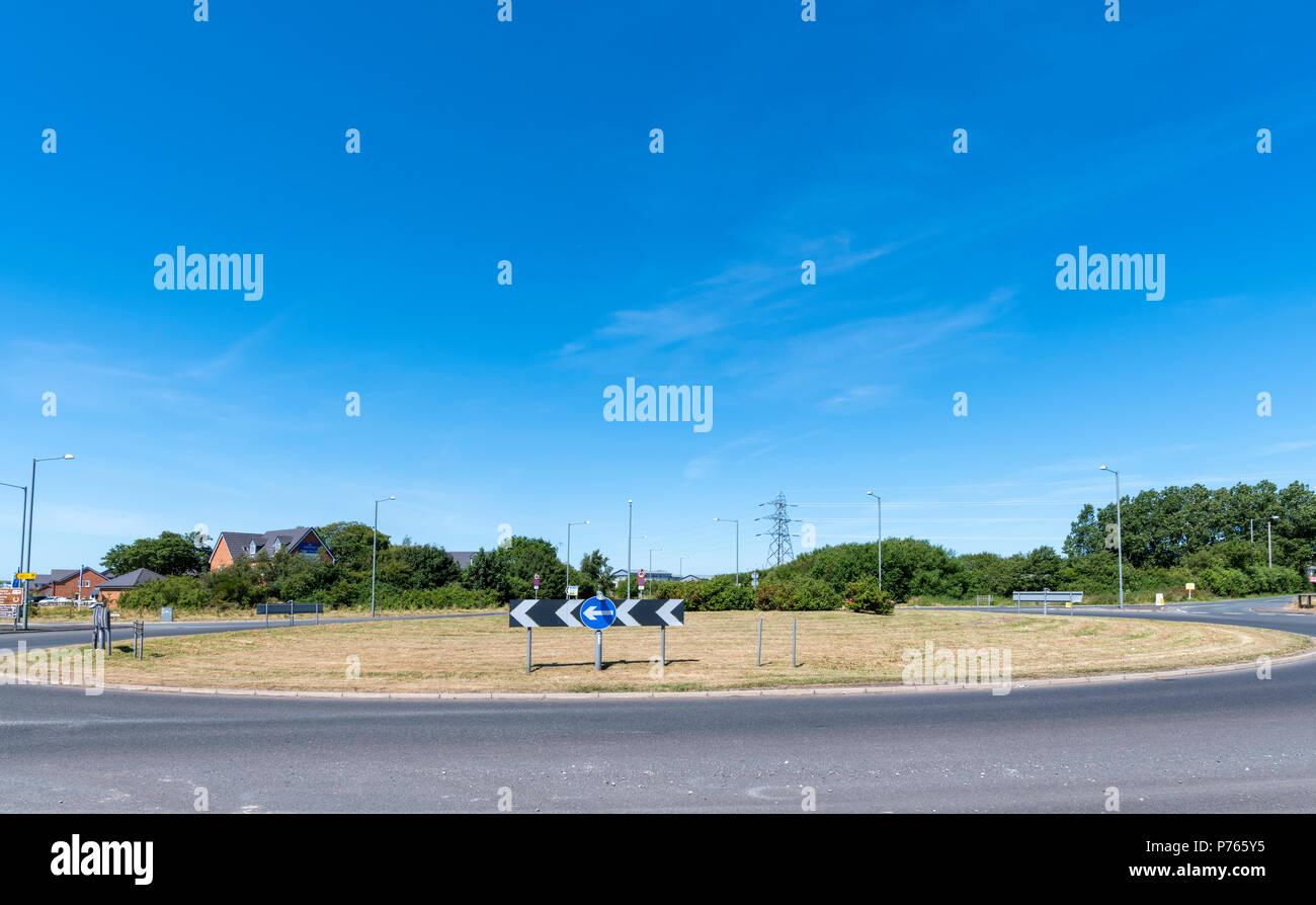 Large roundabout without vehicles in Blackpool, Lancashire, UK - Stock Image