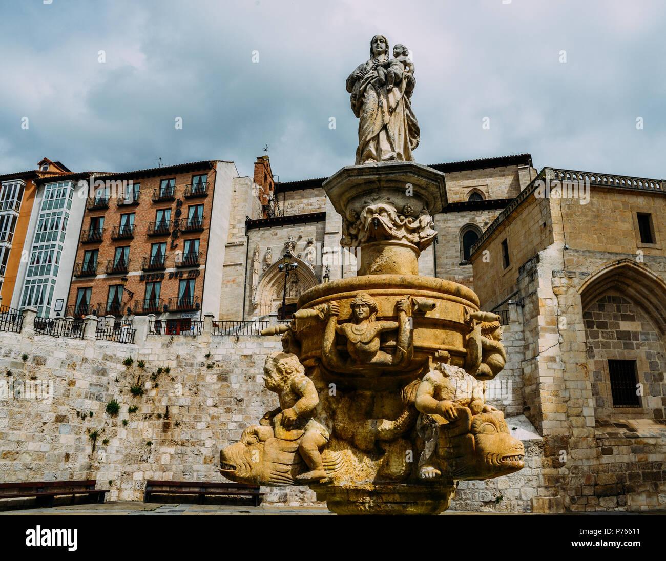Cathedral of Burgos, Spain fountain - UNESCO World Heritage designation. - Stock Image