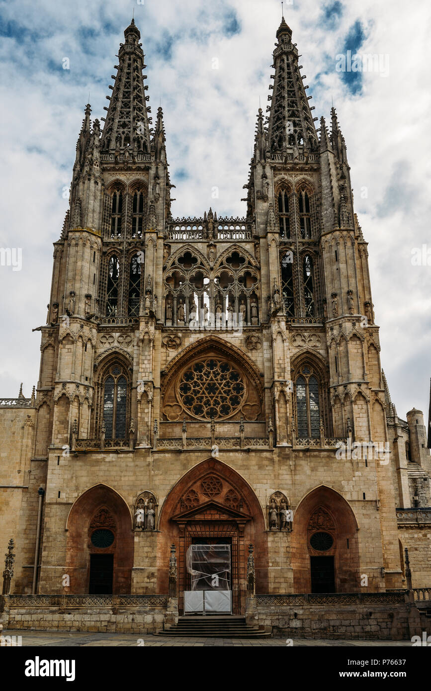 13th-century Burgos Cathedral is outstanding for the elegance and harmony of its architecture - UNESCO World Heritage designation. - Stock Image