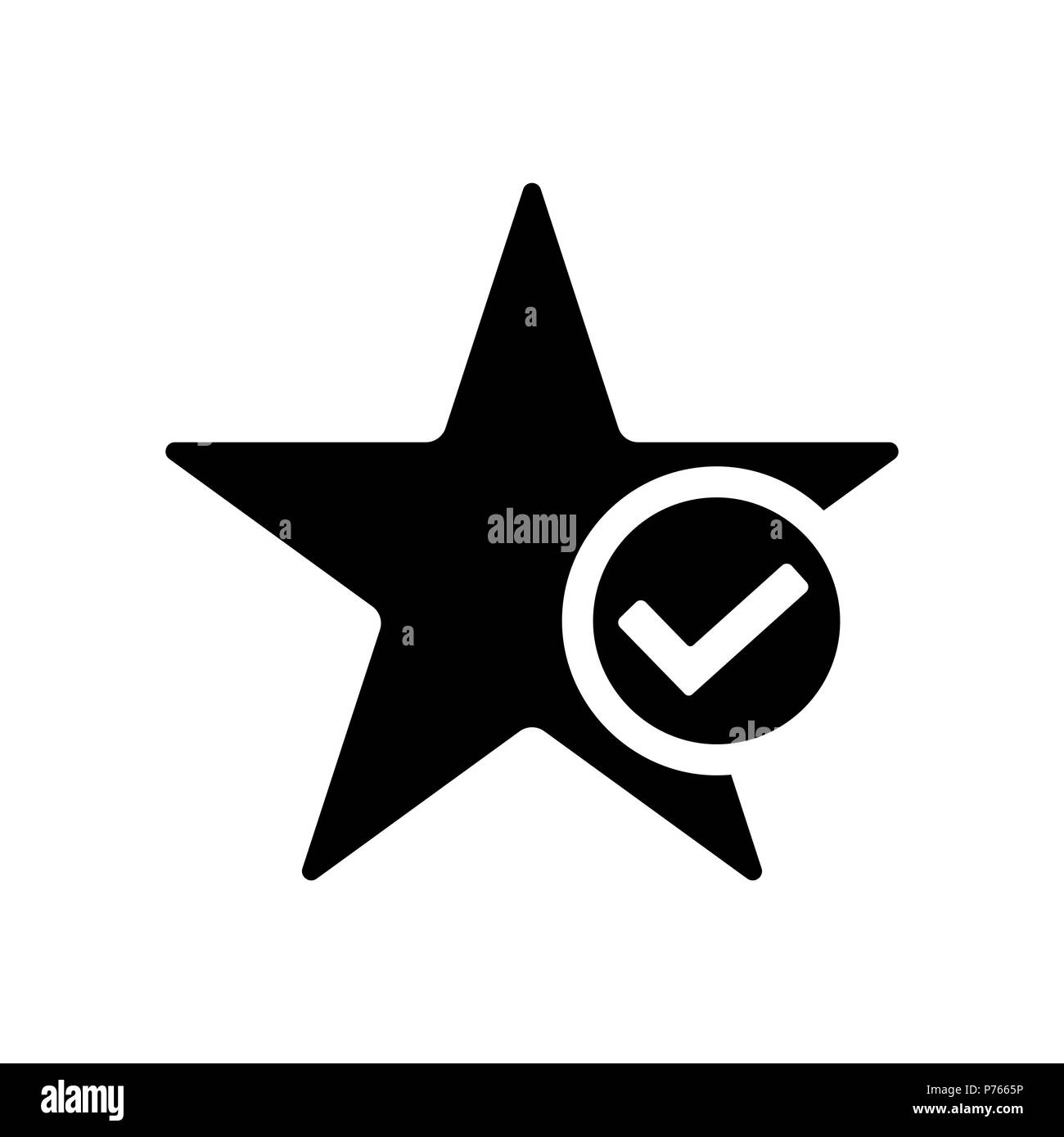 Star favorite icon  Star with tick symbol Stock Vector Art