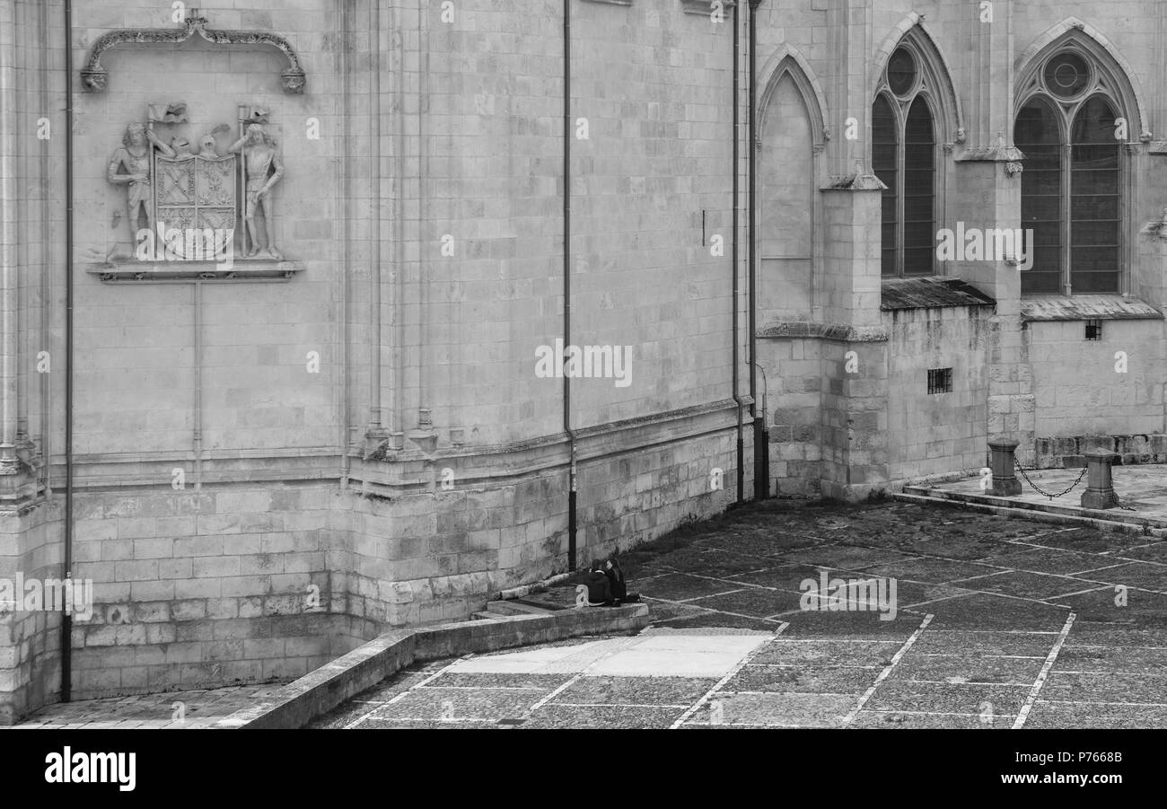 Burgos, Spain - June 13, 2018: 13th-century Burgos Cathedral is outstanding for the elegance and harmony of its architecture - UNESCO World Heritage d - Stock Image