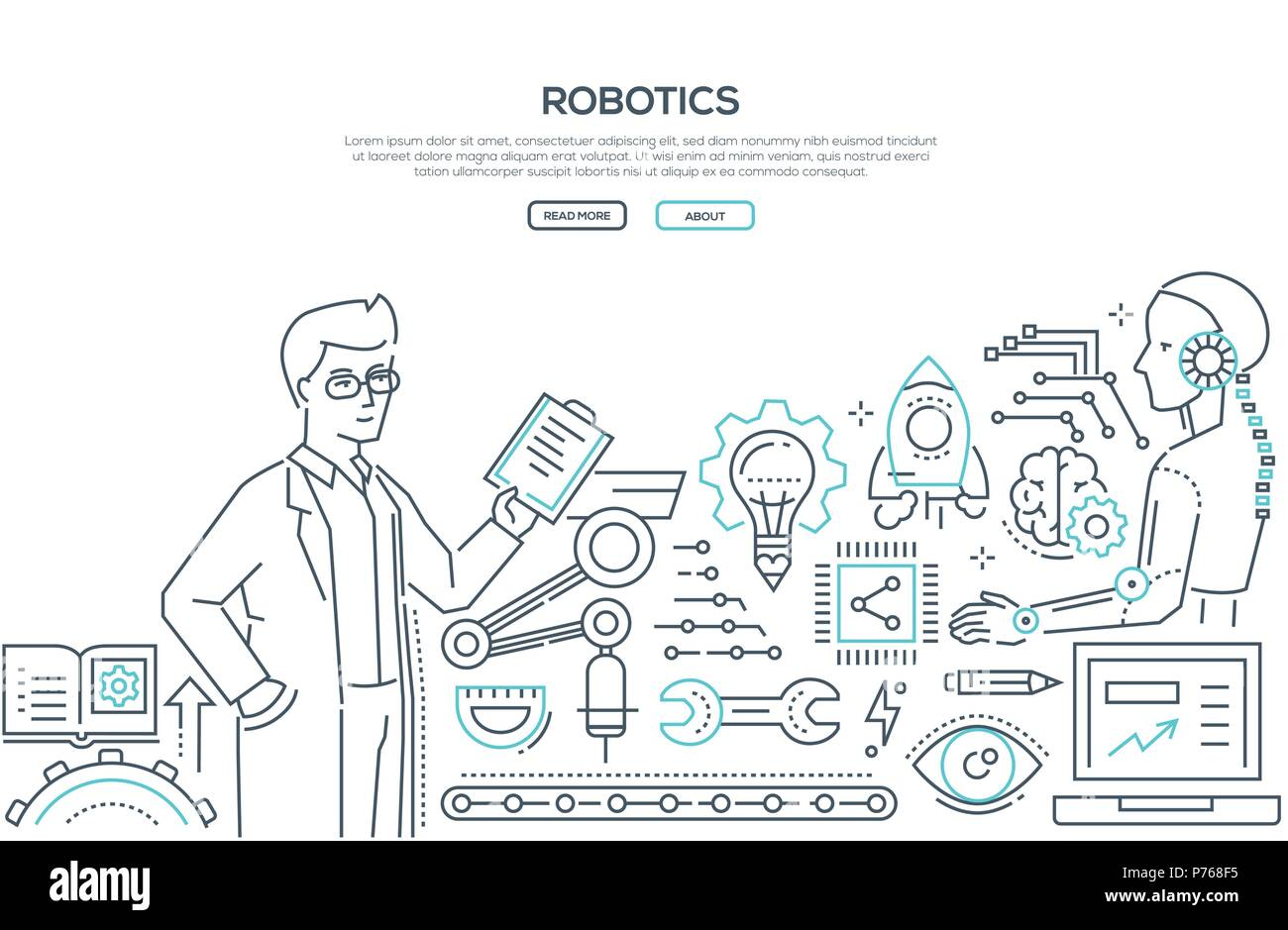Robotics Line Design Style Illustration On White Background With