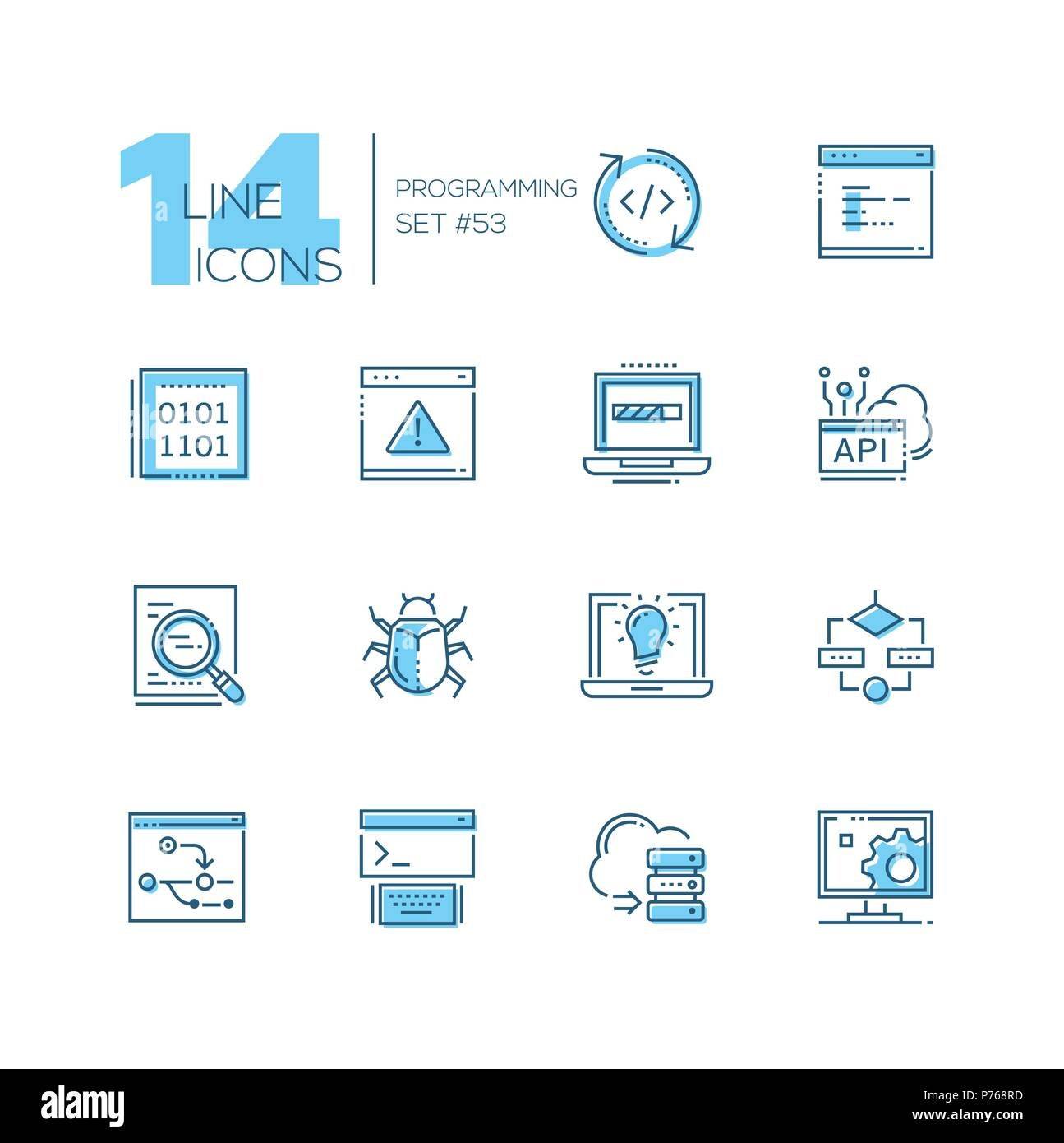 Programming - modern thin line design icons set. Coding, browser page, binary code, laptop battery, search, antivirus, bright idea, cloud computing, s - Stock Image