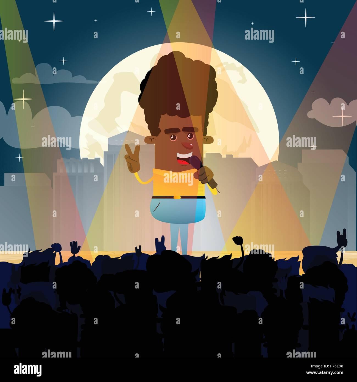 Crowd at concert - summer music festival - cartoon vector illustration. - Stock Vector