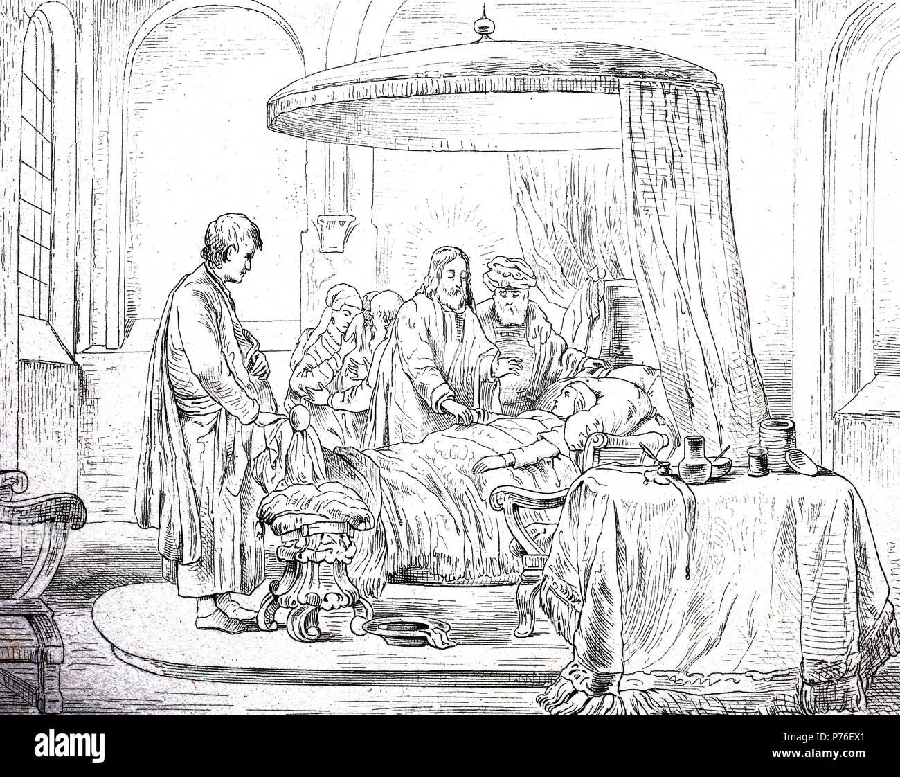 The Awakening of Jairi Töchterlein, by van der Eeckhout, digital improved reproduction of an original print from the year 1881 - Stock Image