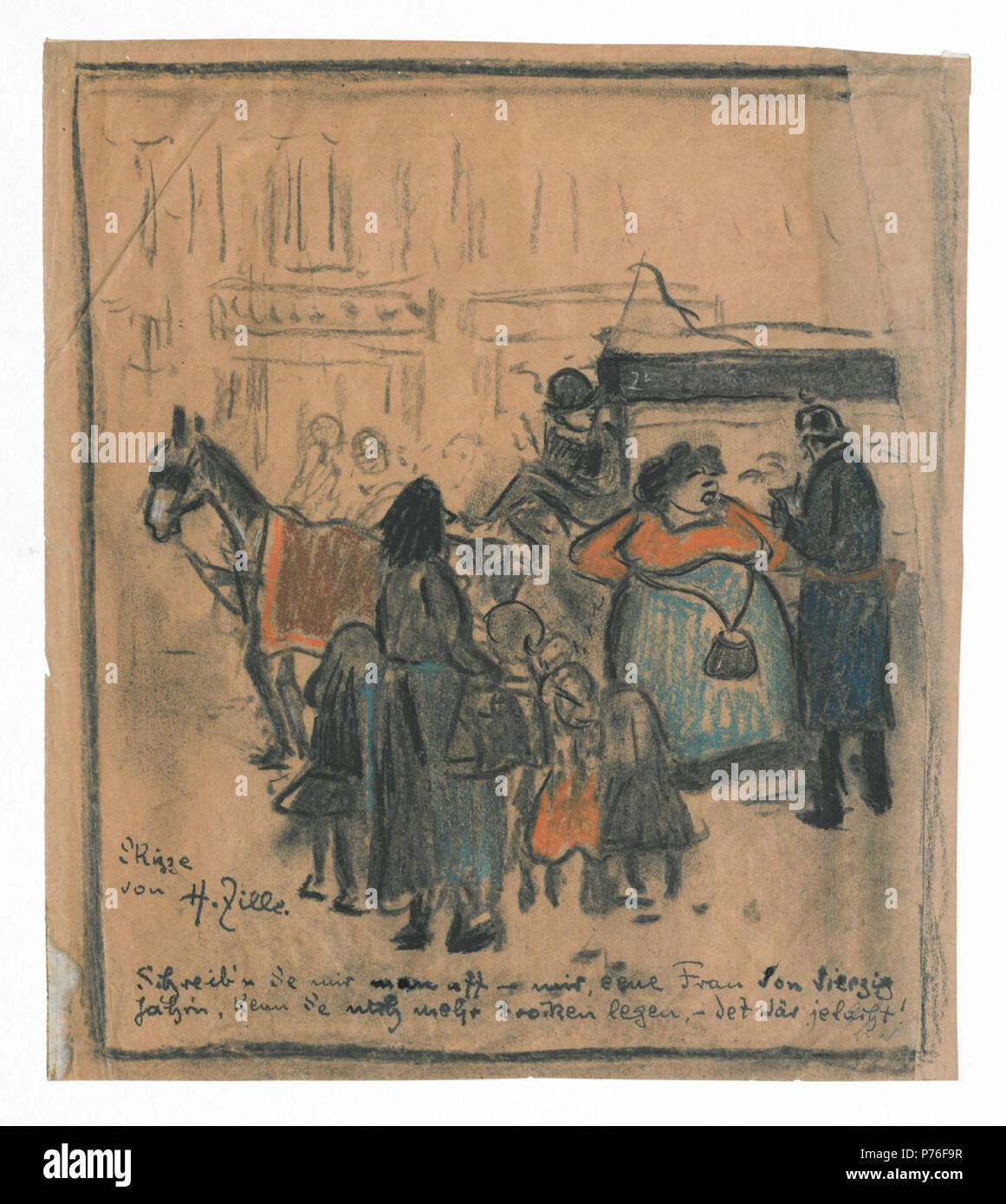 Deutsch: Blatt mit dem Titel 'Verbotener Straßenhandel' aus der Grafischen Sammlung der Stiftung Stadtmuseum Berlin . 1913 231 Zille Verbotener-Strassenhandel GR-04-4-8-HZ - Stock Image