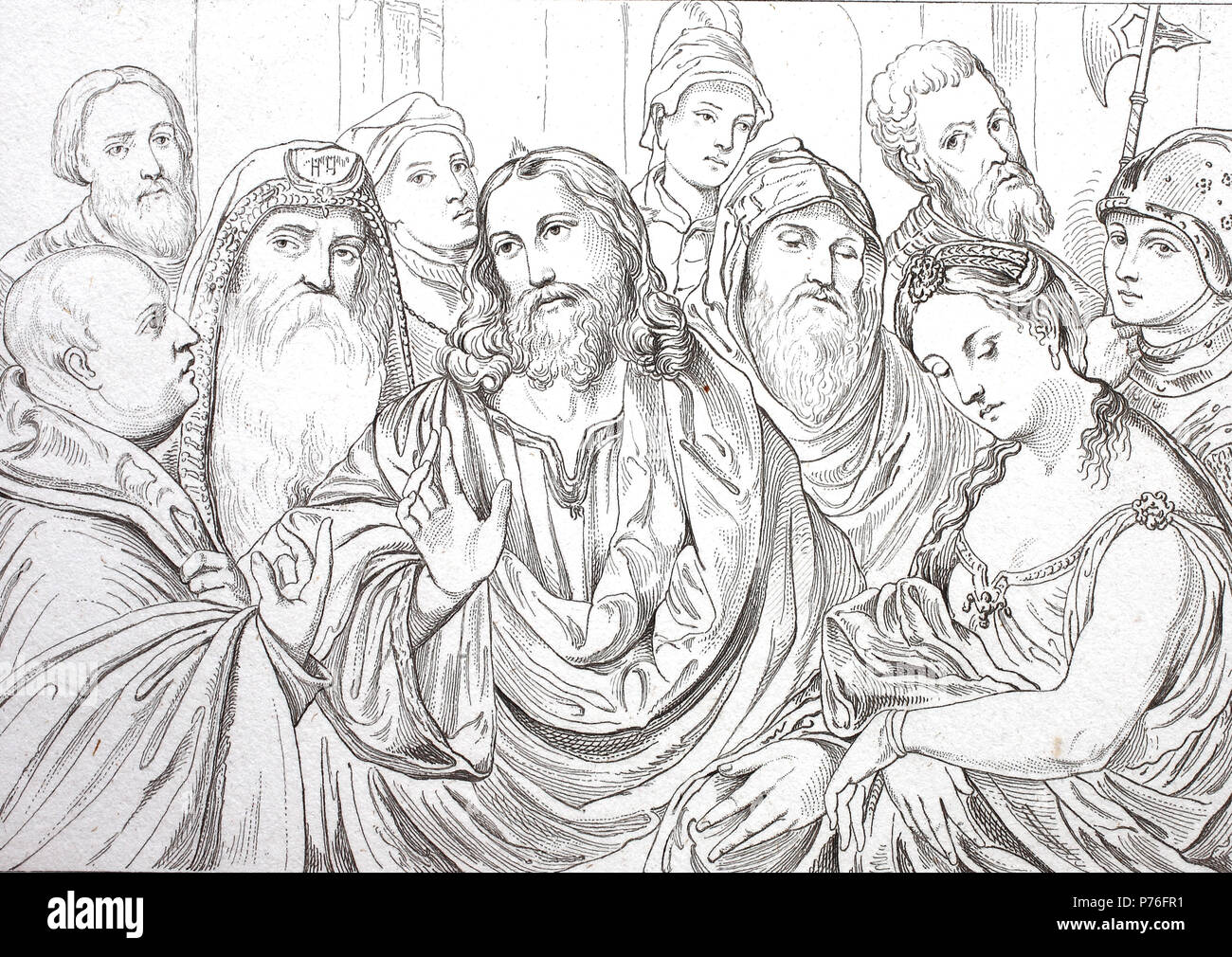 the adultery woman infront of Jesus Christ, digital improved reproduction of an original print from the year 1881 - Stock Image