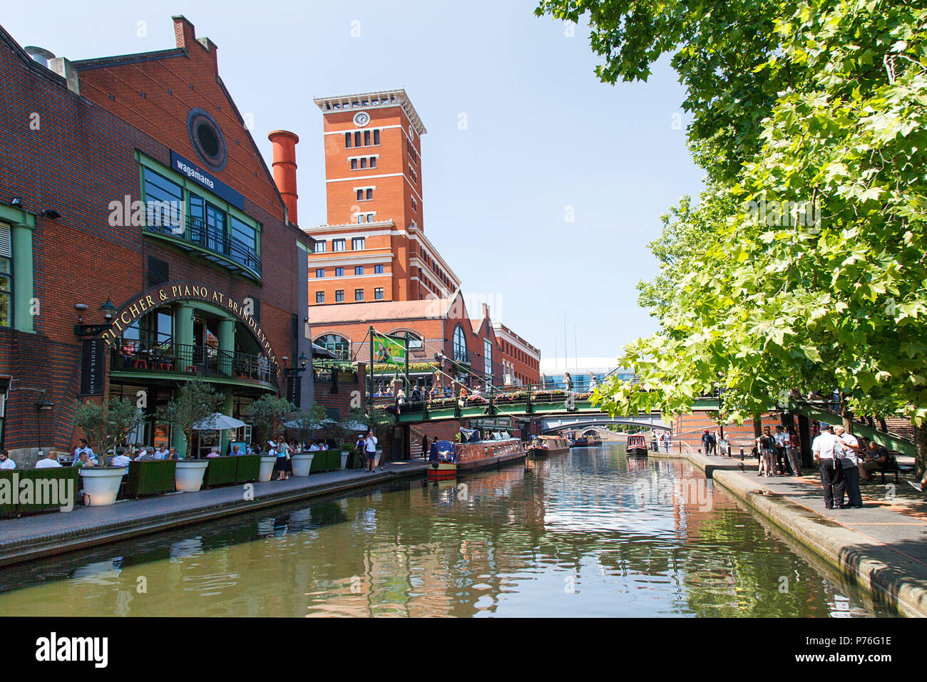 Birmingham, UK: June 29, 2018: The restored canal system in Birmingham is a national heritage landmark and where the Worcester and Birmingham meet. - Stock Image